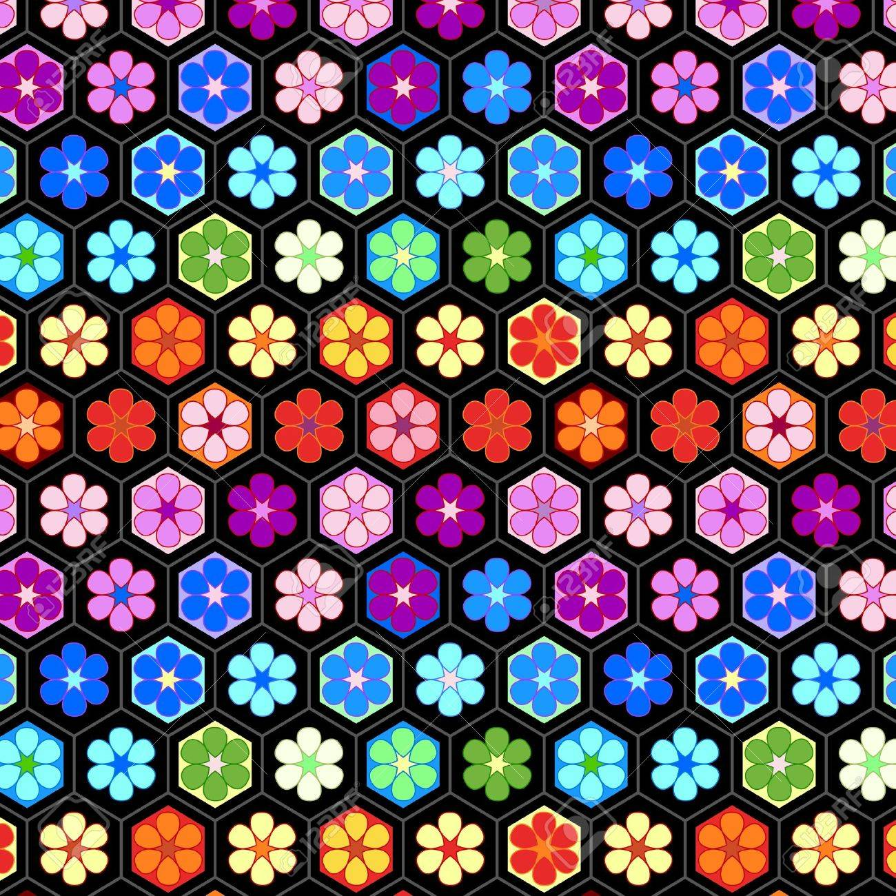 Colorful crochet flowers seamless pattern Stock Vector - 14750118