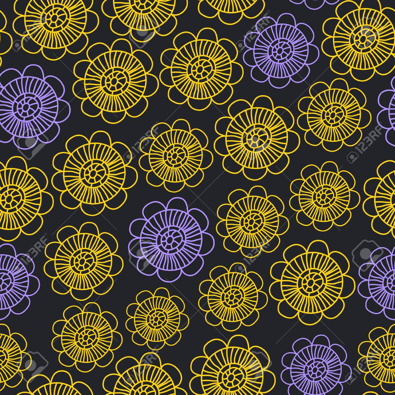 Dark colorful floral seamless pattern, vector Stock Vector - 16267111