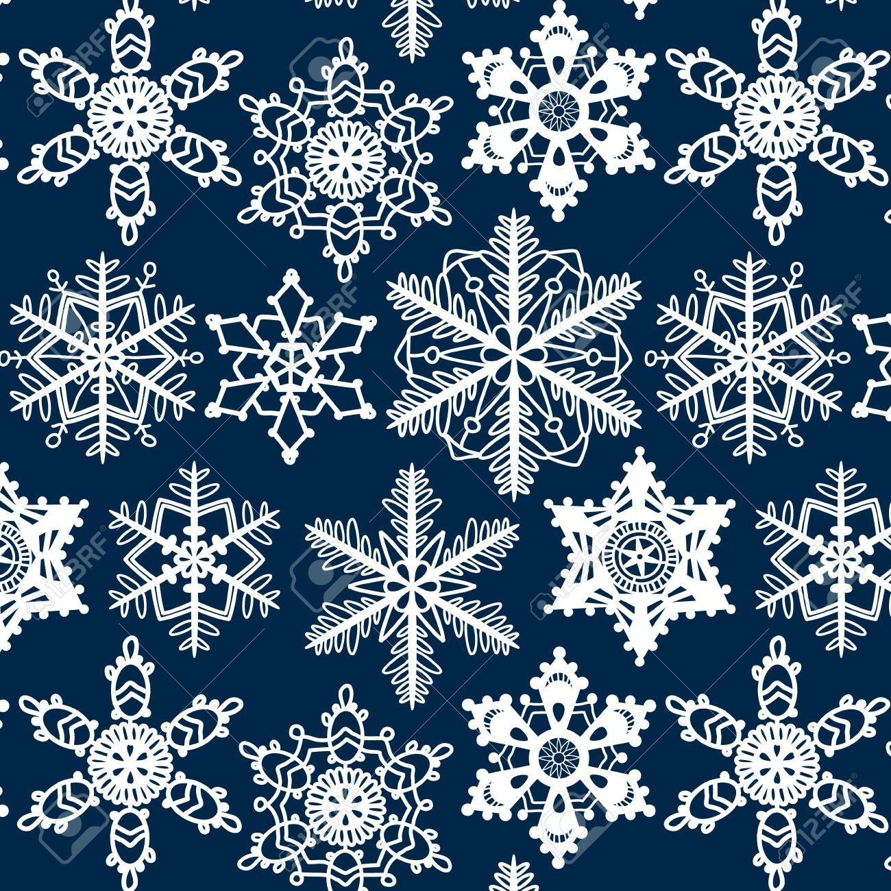 Copos De Nieve Del Ganchillo Patrón Sin Costuras En Color Azul ...