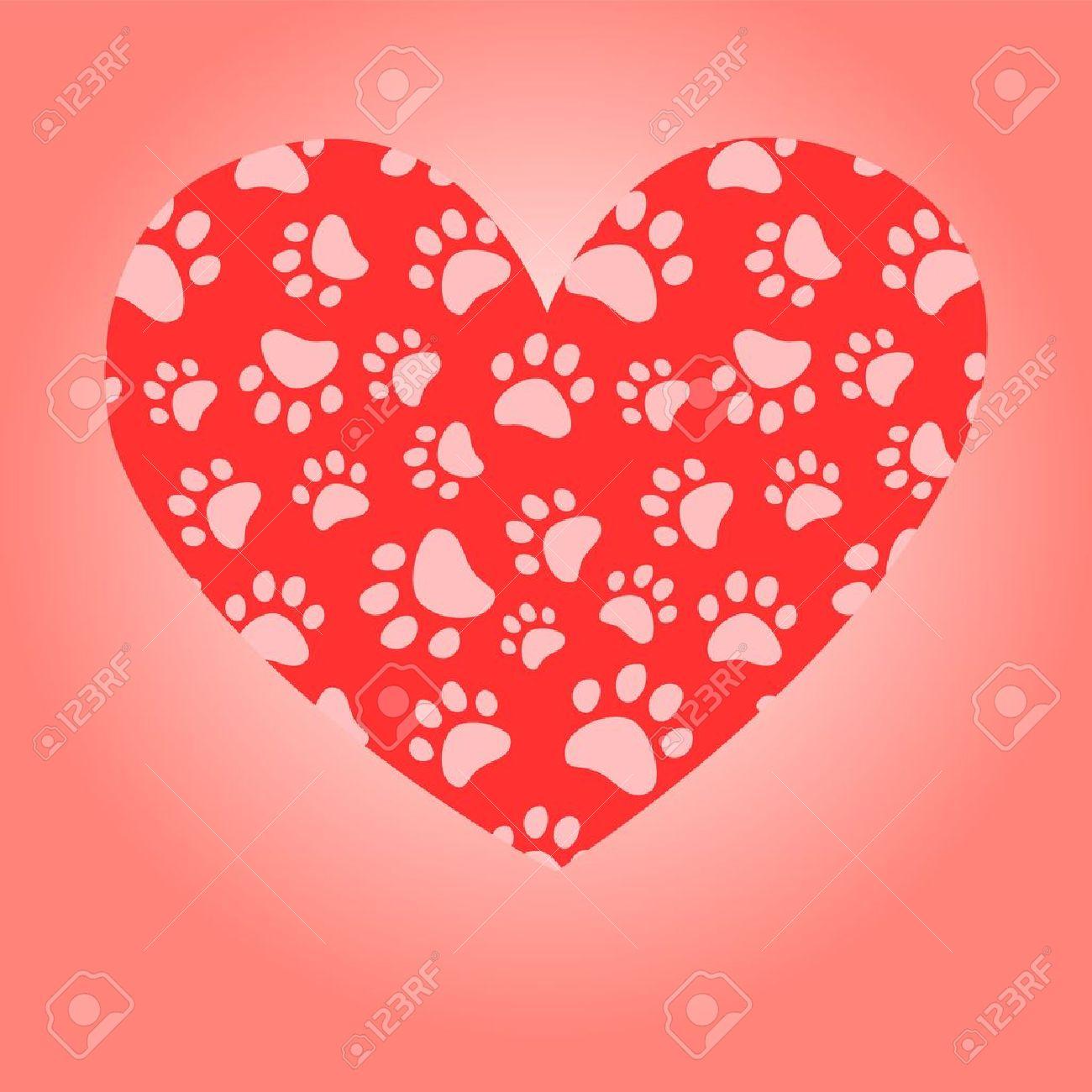 Animal lover heart greeting card, vector Stock Vector - 16593324