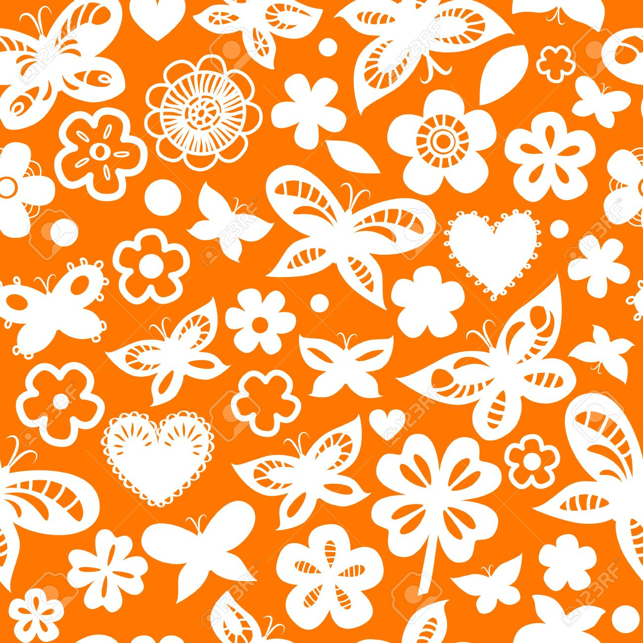 Orange and white floral seamless pattern with hearts and hearts Stock Vector - 17755472