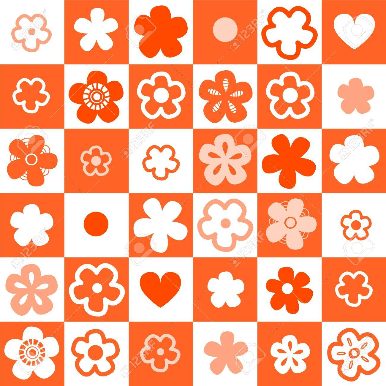 Orange and white checkered seamless pattern with flowers Stock Vector - 17755463