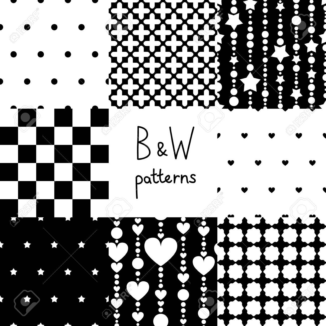 Various black and white seamless patterns set Stock Vector - 17755482