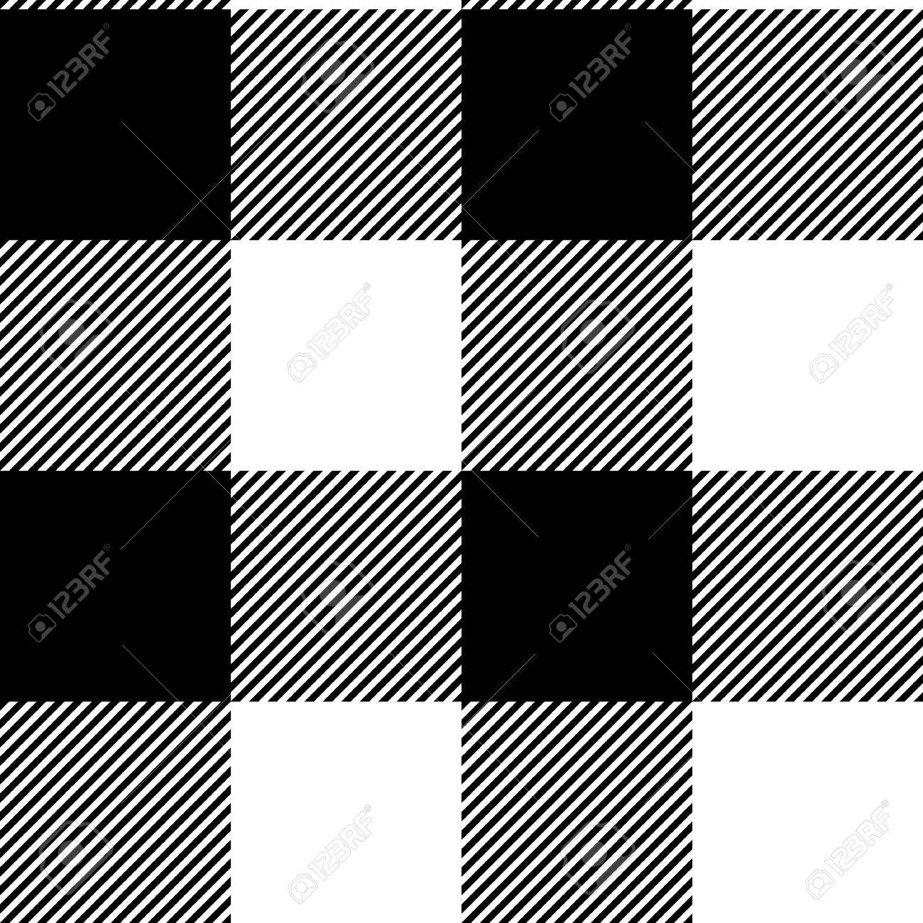 Checkered black and white simple fabric seamless pattern, vector Stock Vector - 17983621