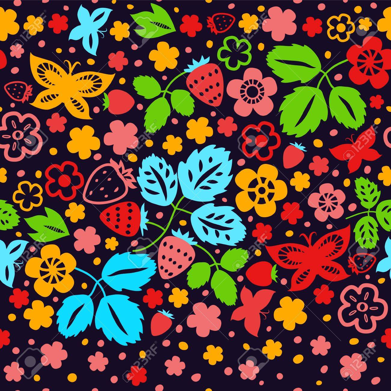 Colorful strawberry seamless pattern on dark background Stock Vector - 18128053