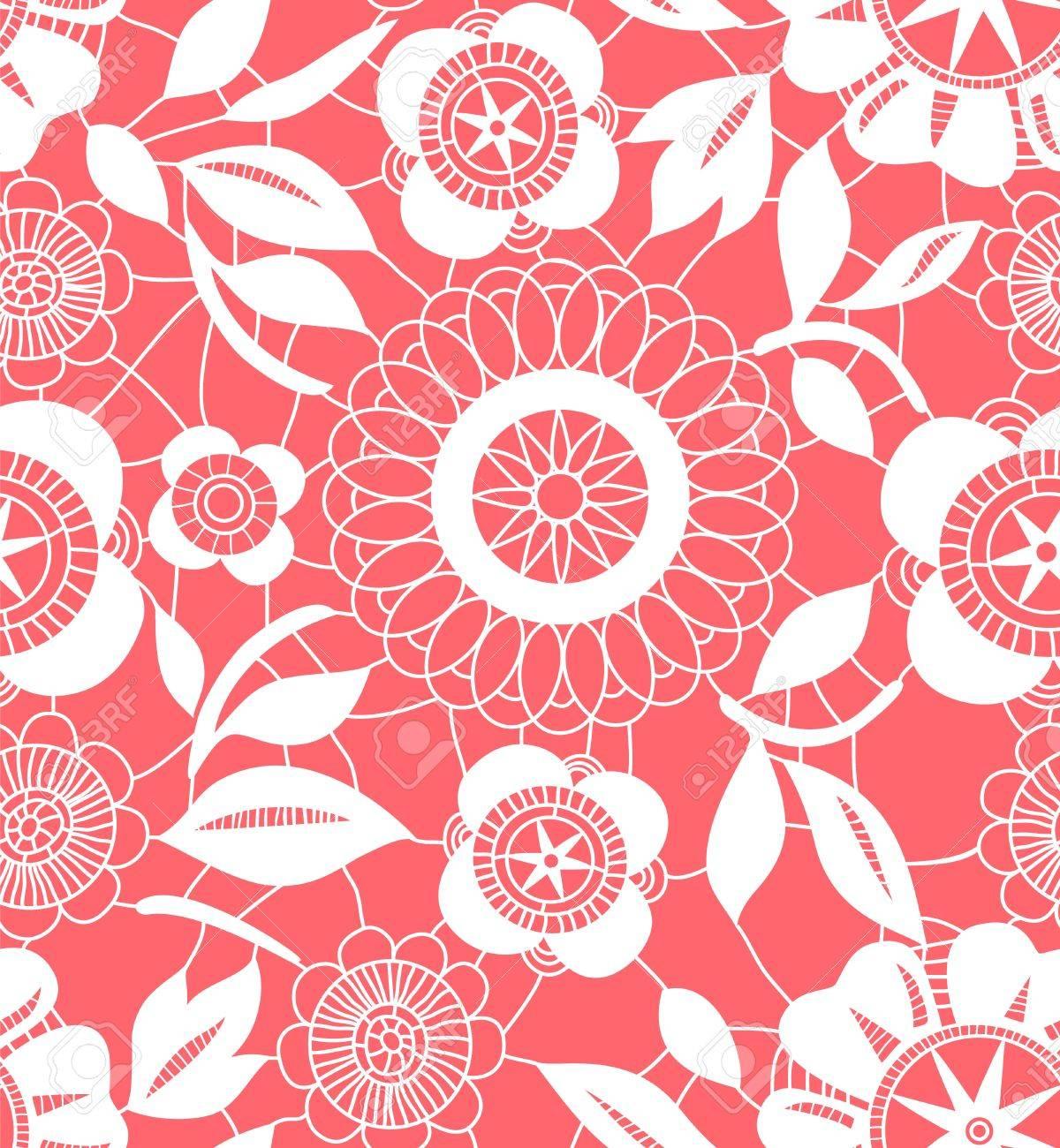 Rosa Und Weiße Blumen Häkeln Spitzen Nahtlose Muster Lizenzfrei