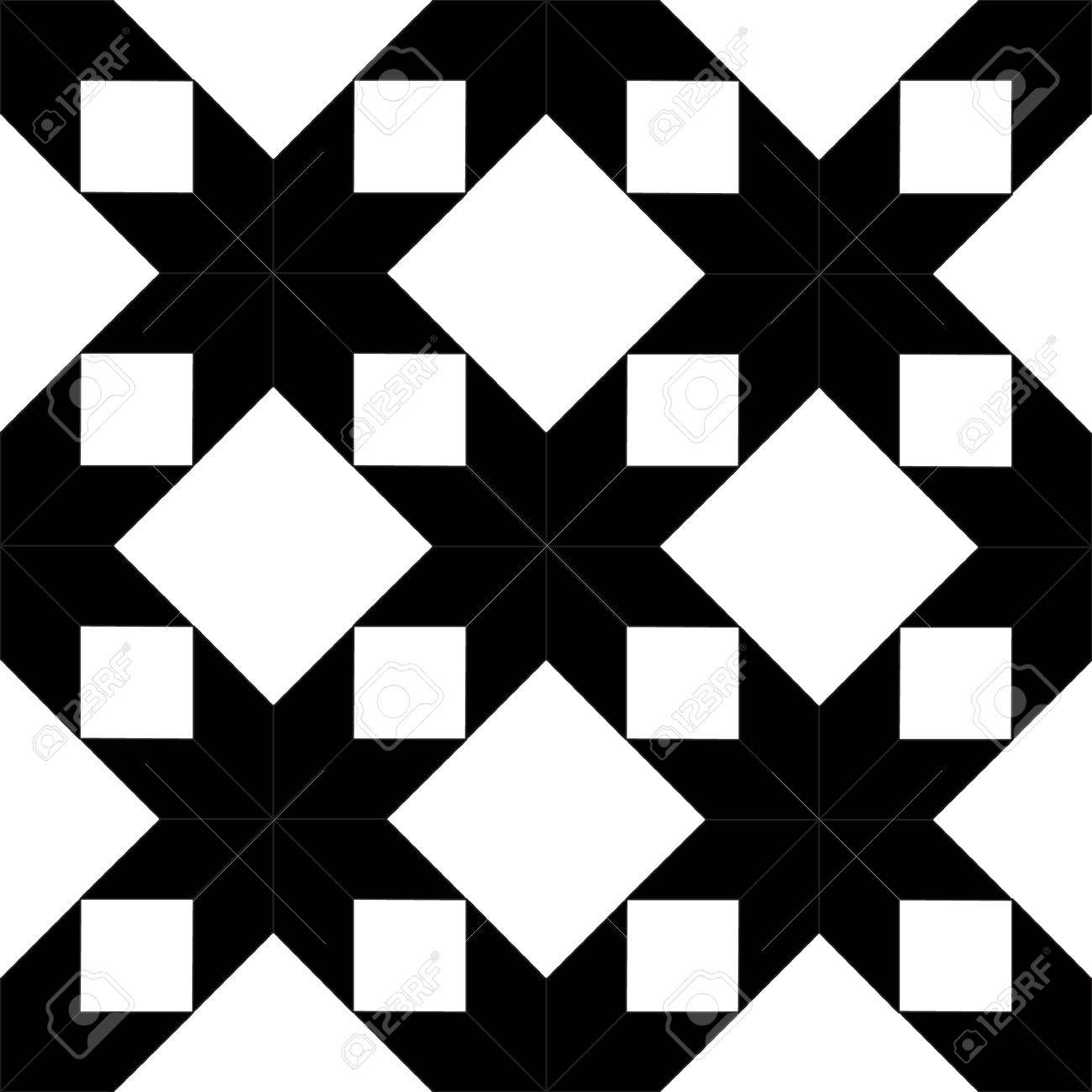 quilted star shape fabric seamless pattern in black and white