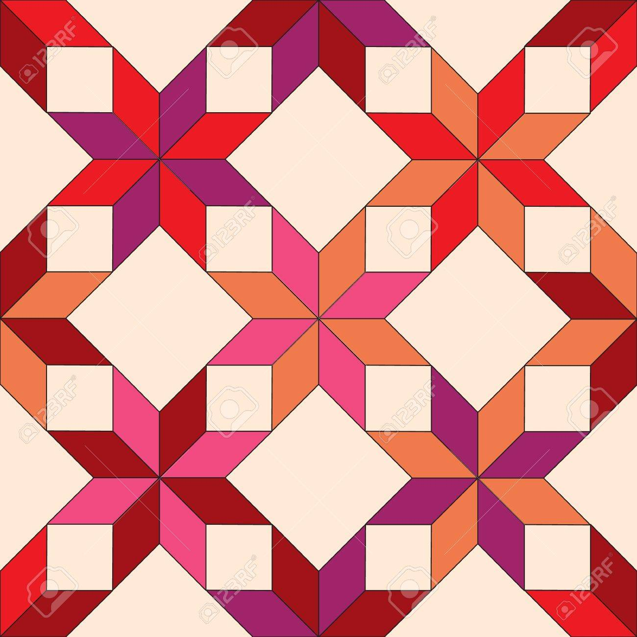 quilted star shape fabric seamless pattern in shades of red