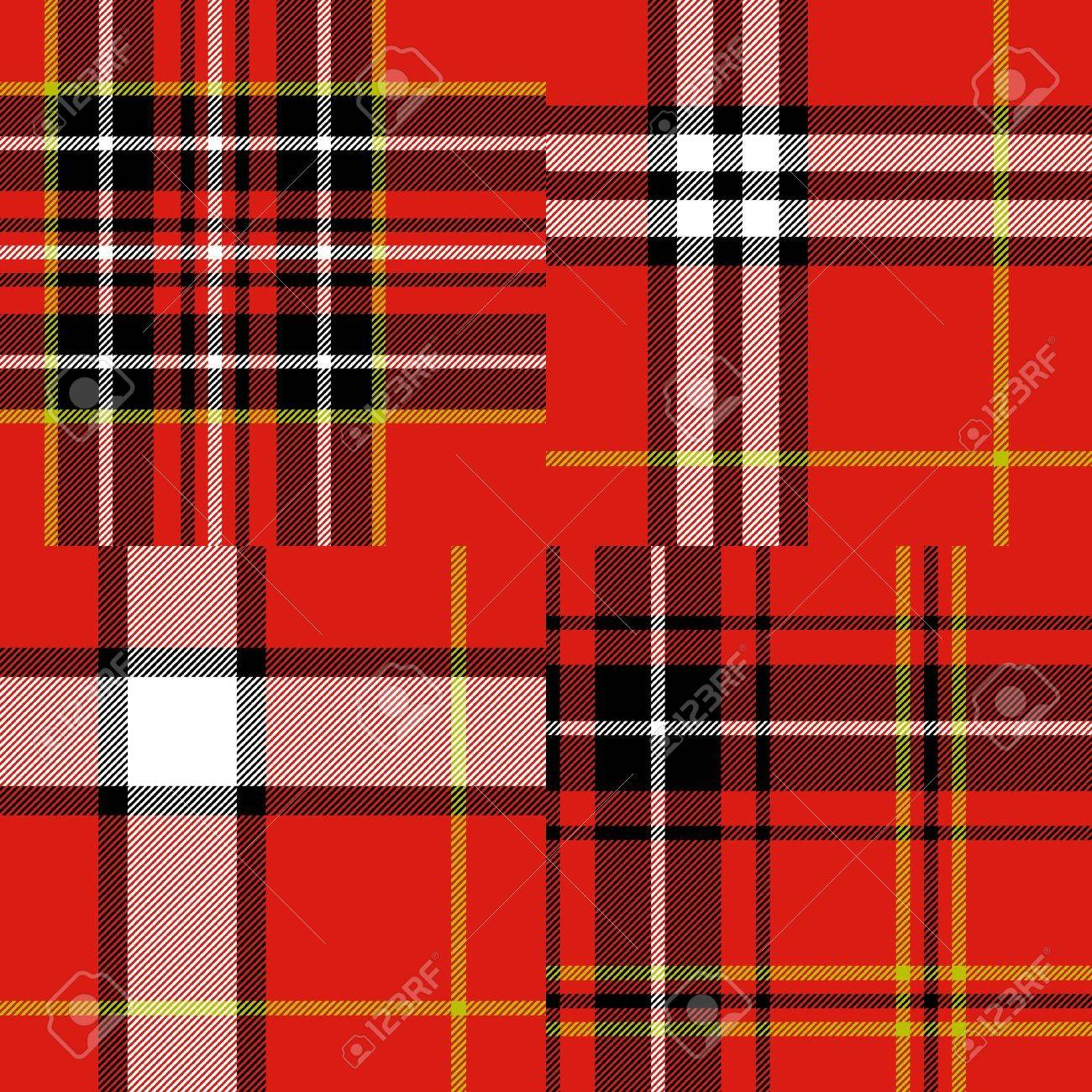 Scottish traditional tartan fabric seamless pattern set in red and black and white, vector - 18551314
