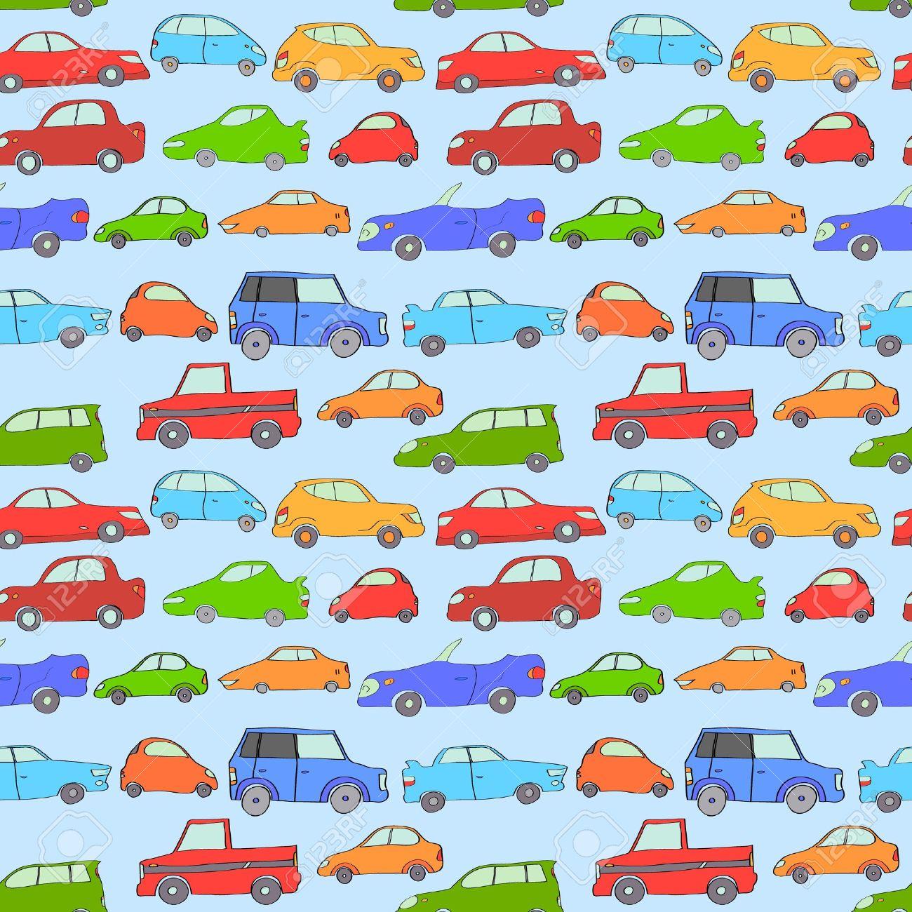 Cartoon Cute Cars Seamless Background On Blue Vector Royalty Free