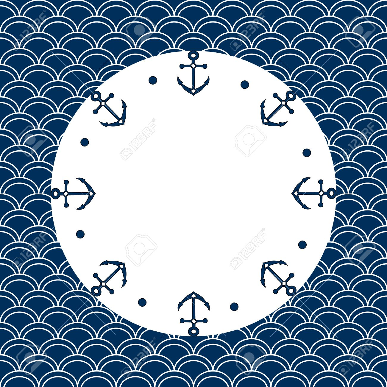 Round Navy Blue And White Frame With Anchors Dots On A Scalloped Background