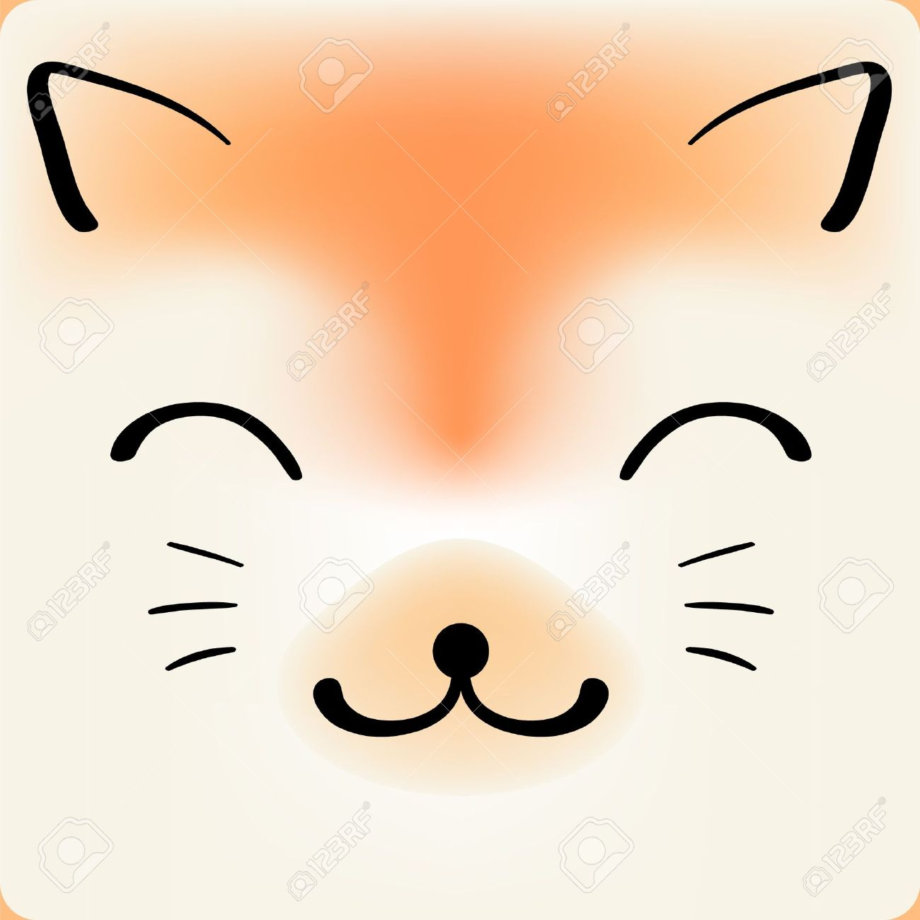 Cute Cartoon Cat Face Vector Background For A Card Royalty Free