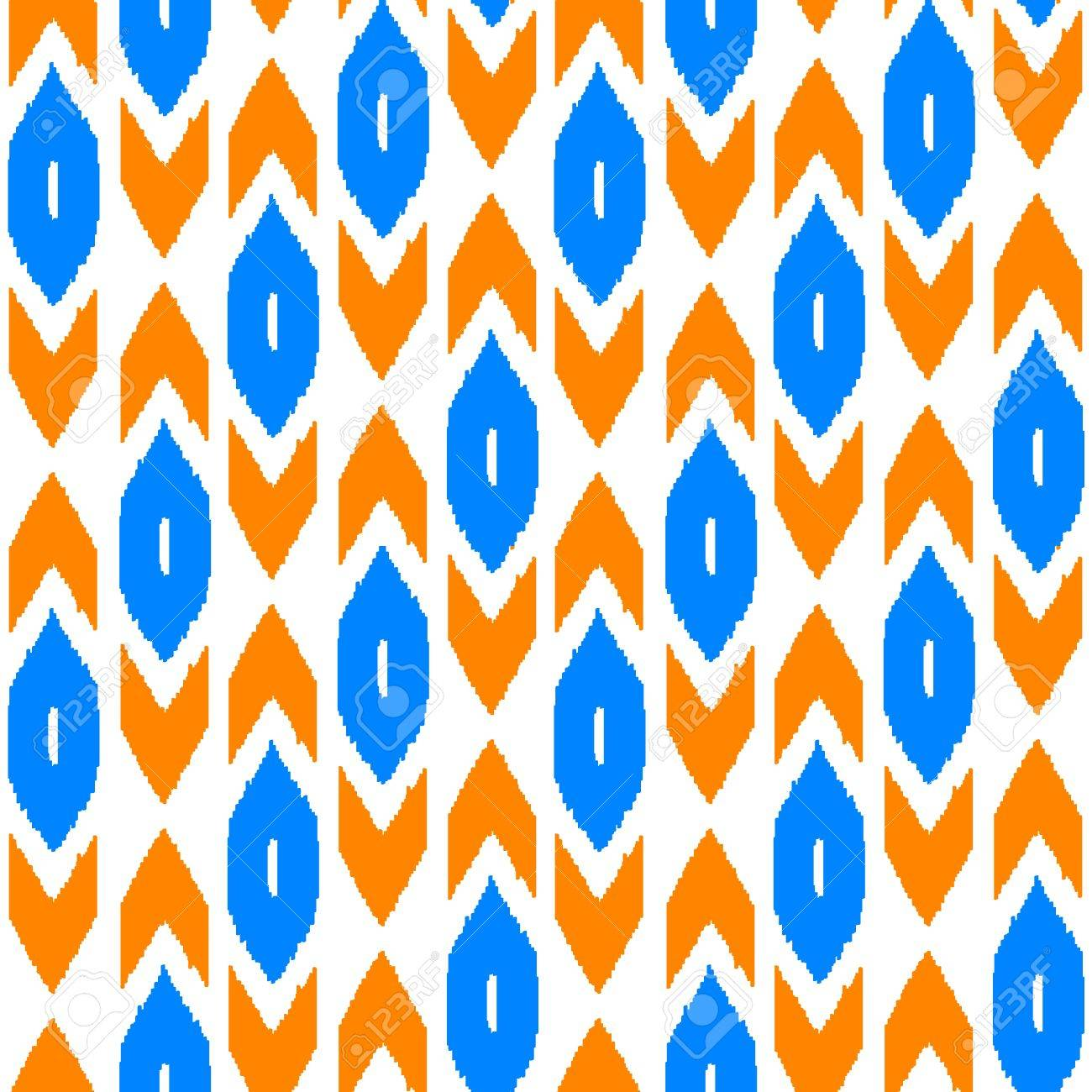 Ikat traditional middle east fabric in orange and blue seamless pattern, vector Stock Vector - 18915079