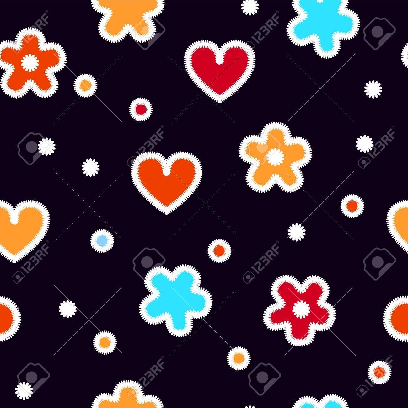 Corazones De Colores Y Flores En Crochet Negro Sin Patrón, Vector ...