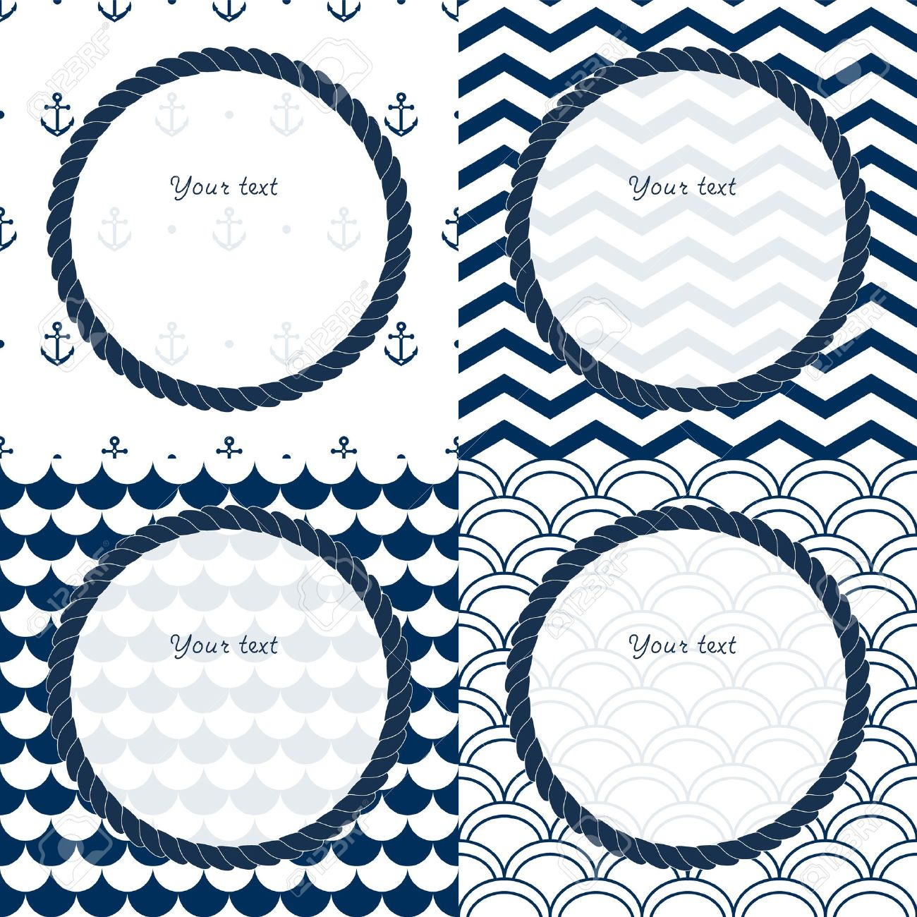 navy blue and white travel round frames set on chevron scalloped and anchor patterned backgrounds