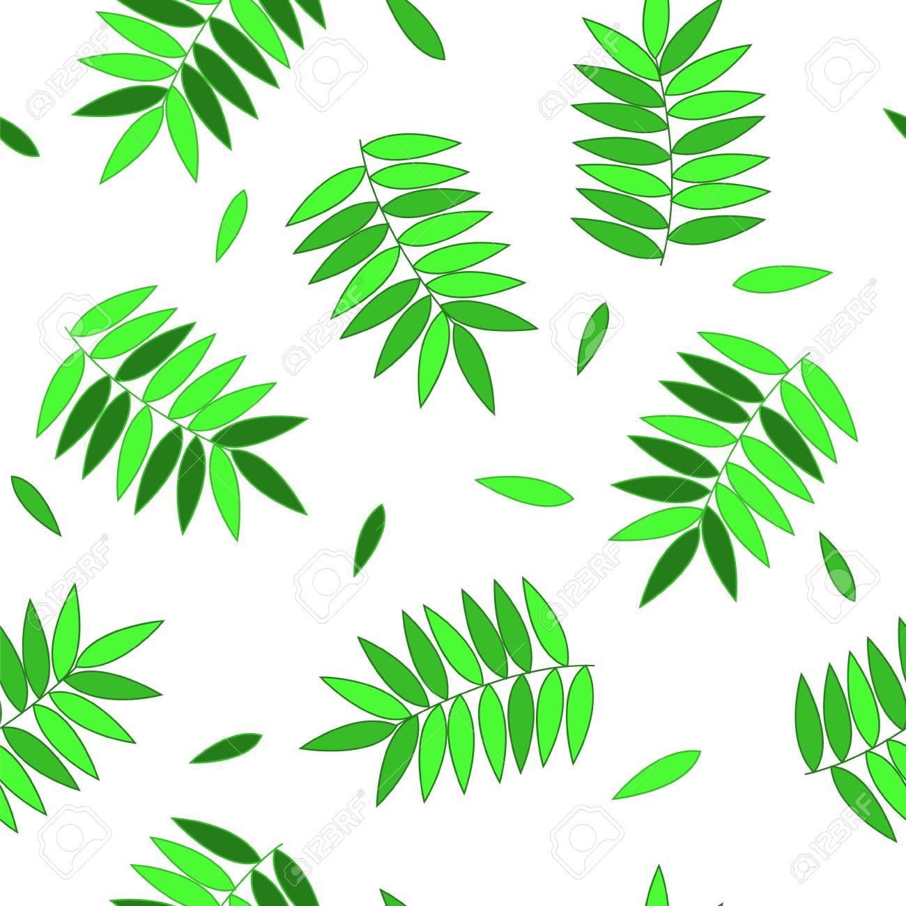 Green fresh leaves on white seamless pattern Stock Vector - 20707715