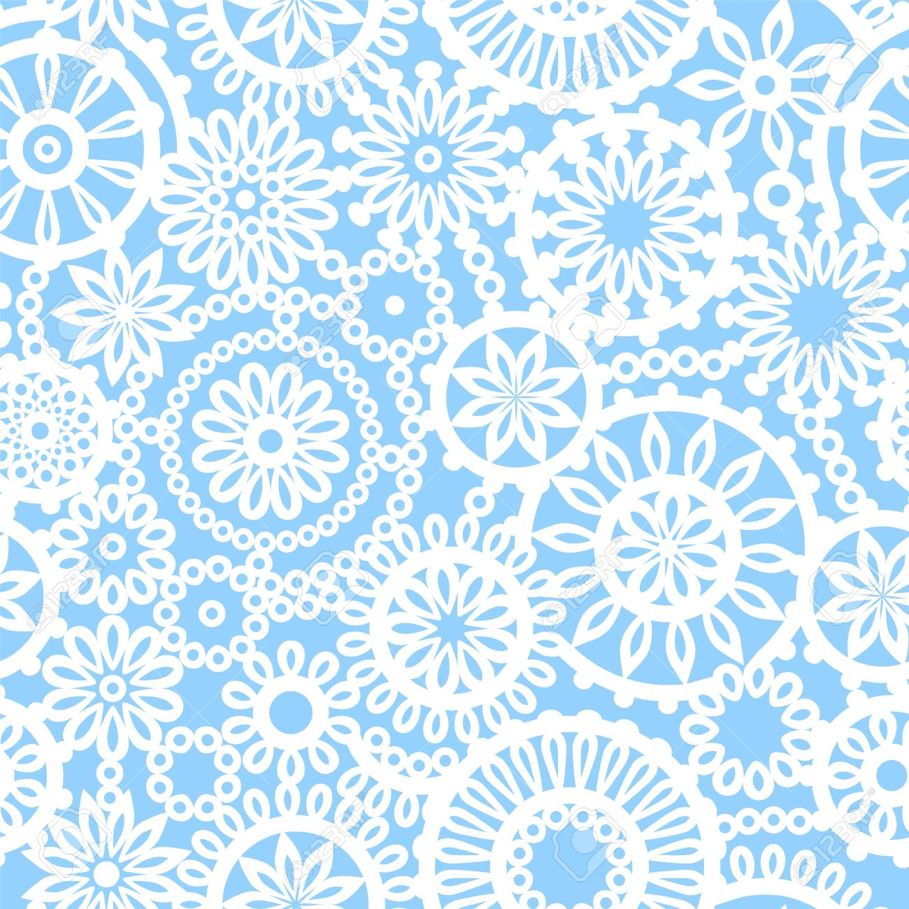 Blaue Und Weiße Geometrische Kreis Häkeln Blumen Nahtlose Muster