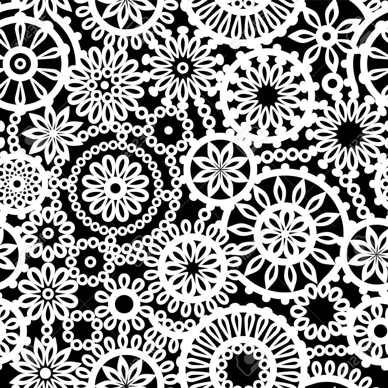 Schwarze Und Weiße Geometrische Kreis Häkeln Blumen Nahtlose Muster