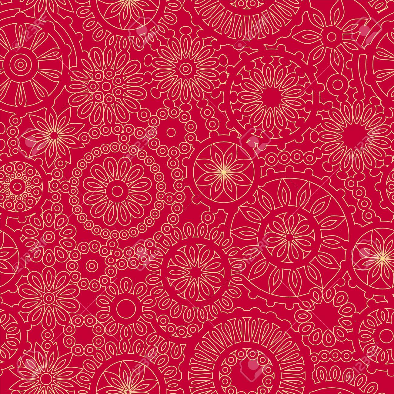 Weihnachten Schneeflocke Spitzen Häkeln Nahtlose Muster In Rot Und ...