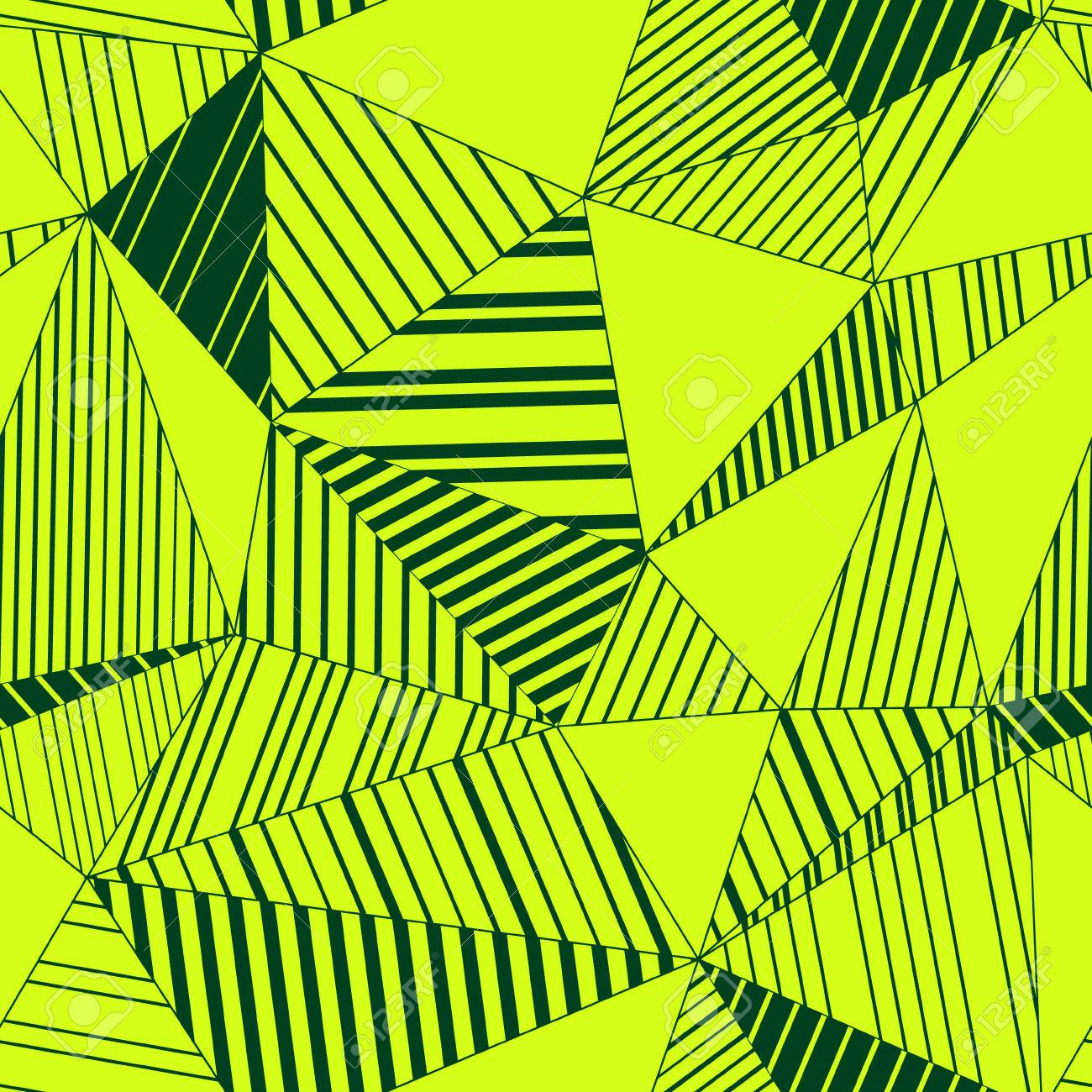 Colorful Abstract Geometric Triangles Seamless Pattern In Neon