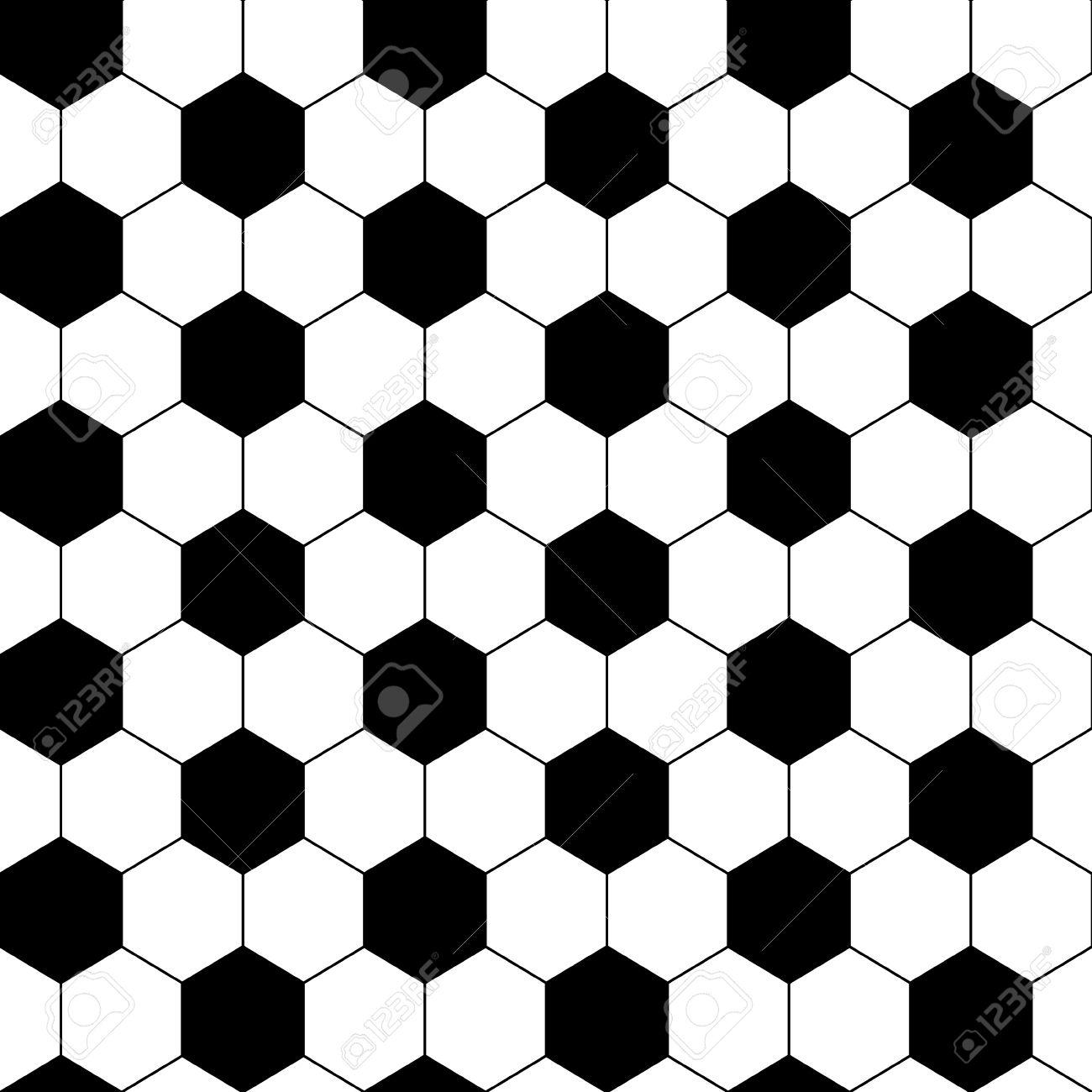 Black and white hexagon soccer ball seamless pattern, vector - 23832449