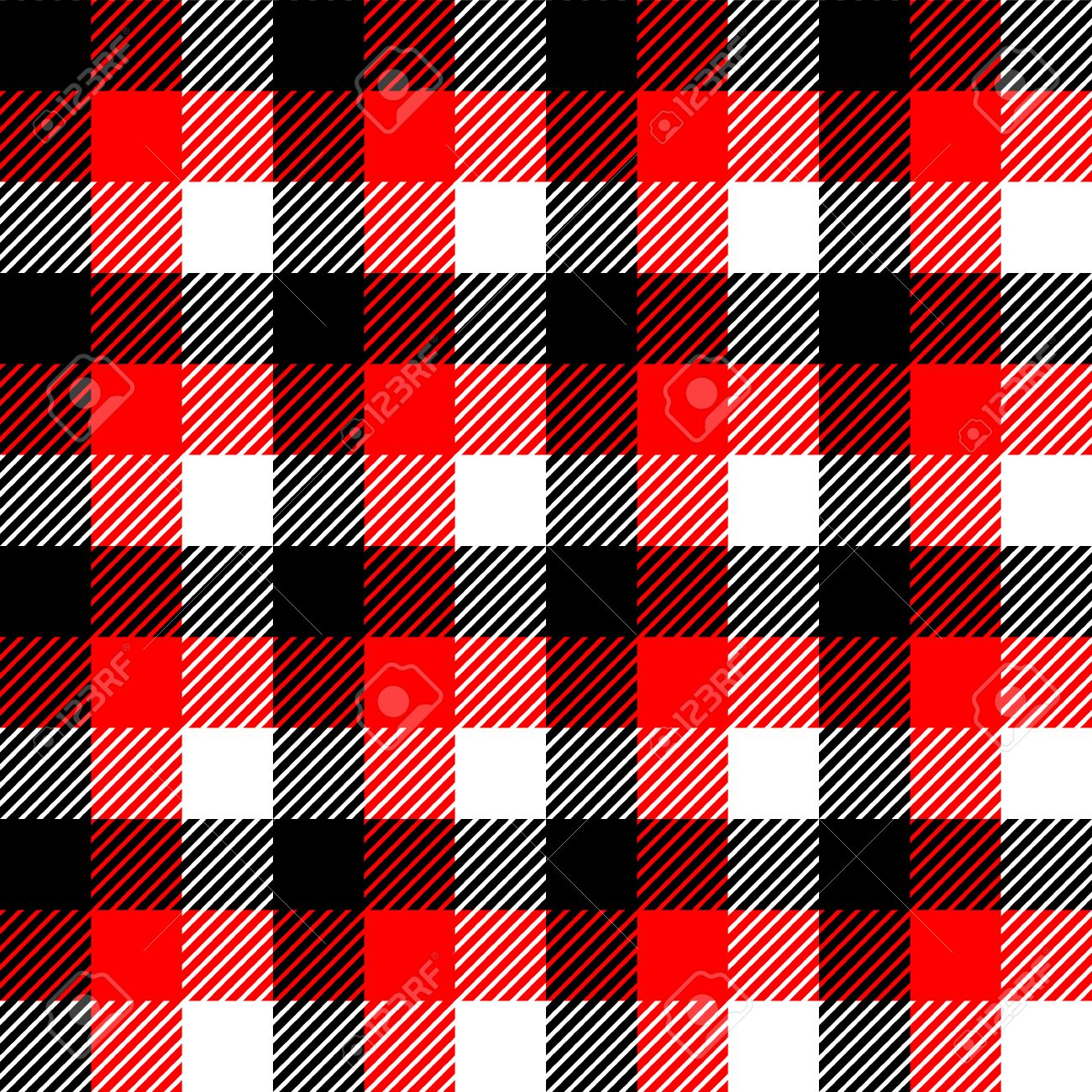Checkered Gingham Fabric Seamless Pattern In Black White And