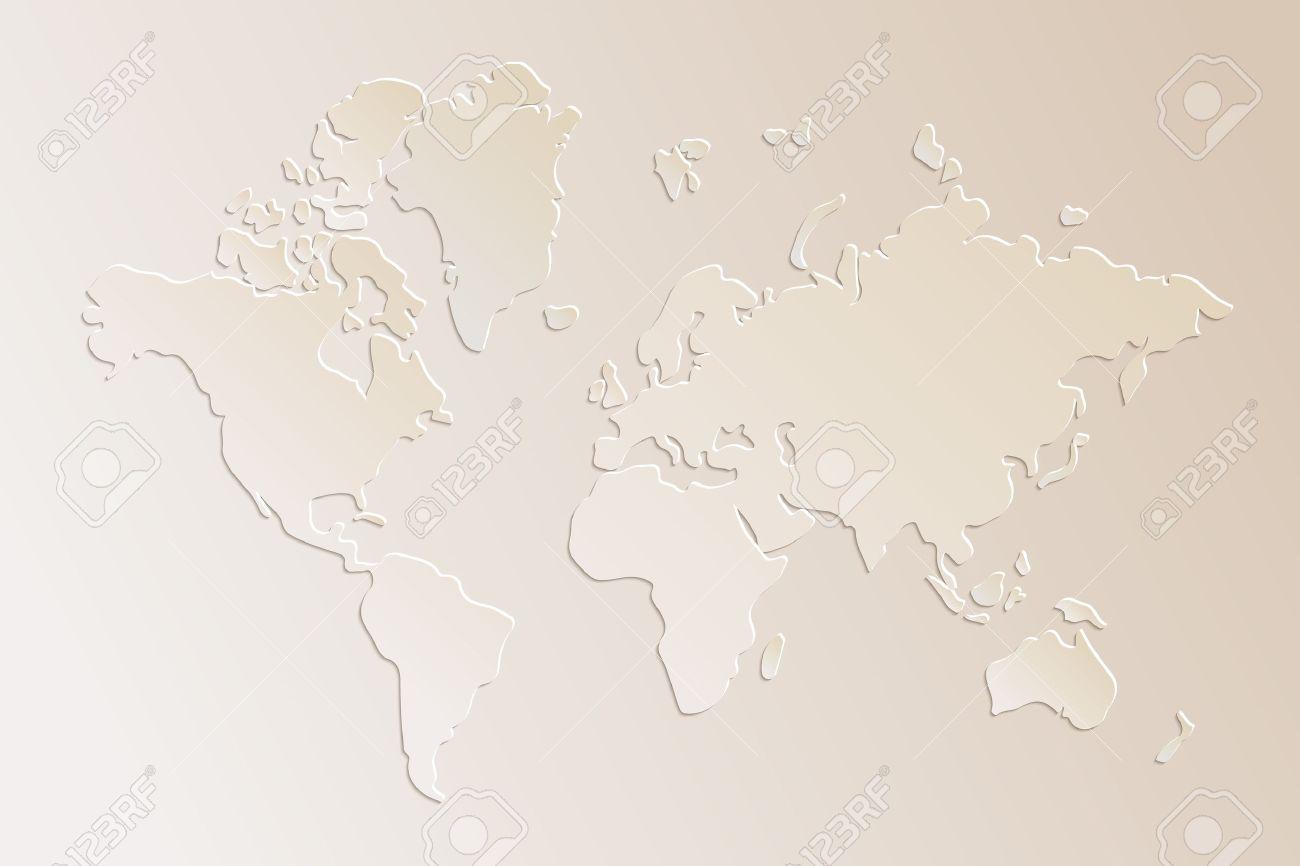 Subtle 3d paper world map illustration in beige, vector - 24429279