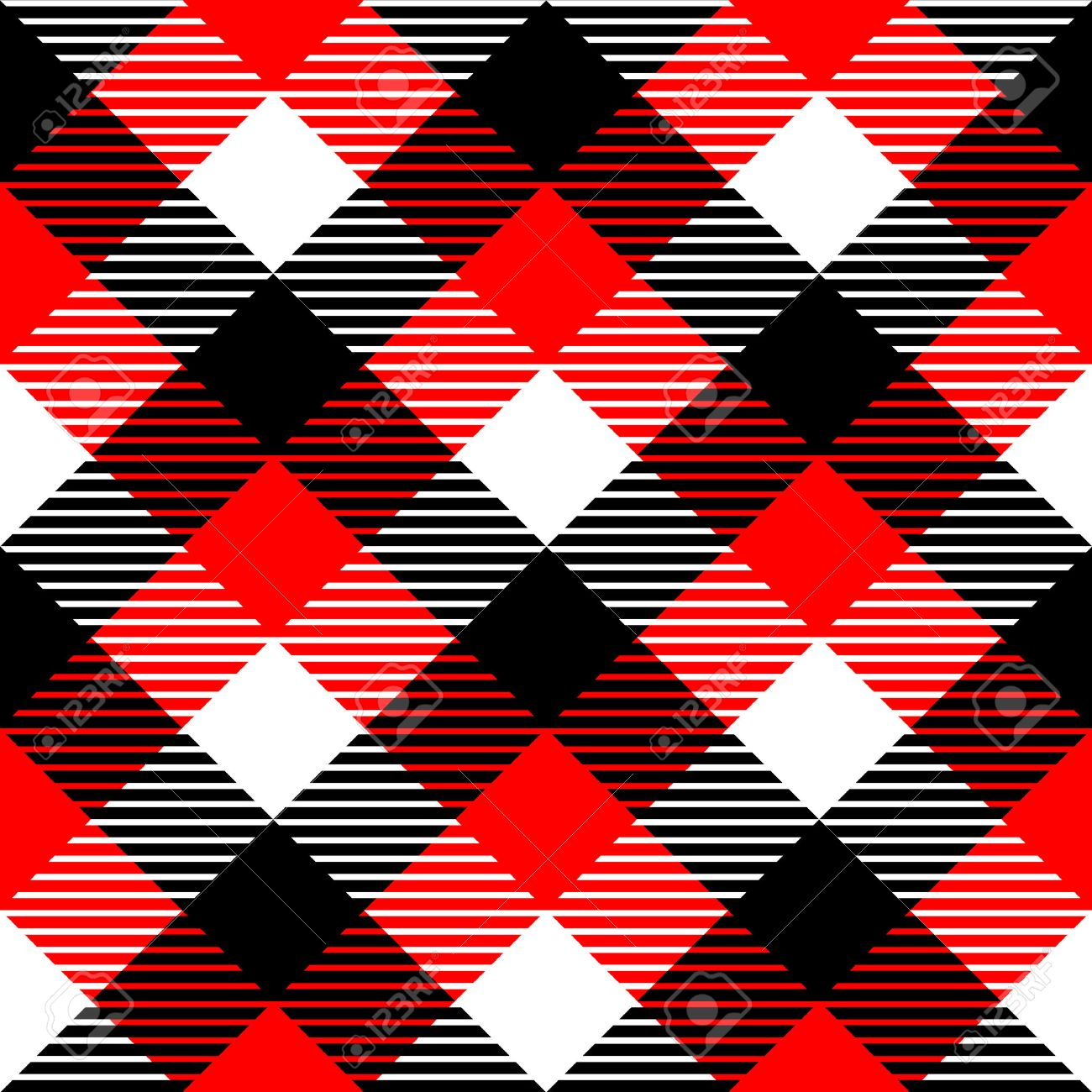 Checkered gingham fabric seamless pattern in black white and red, vector Stock Vector - 24539336