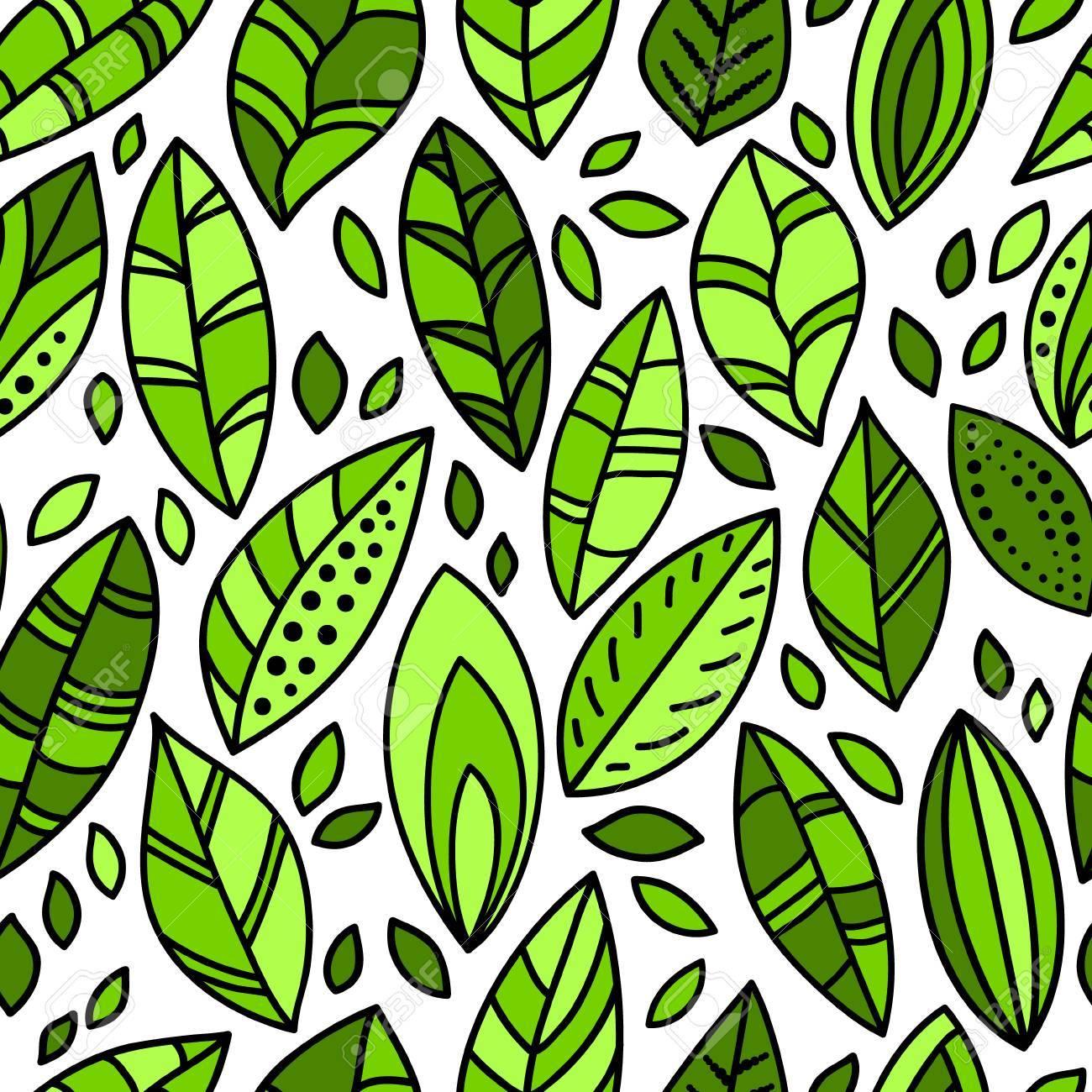 Green fresh leaves doodles on white seamless pattern - 25315551