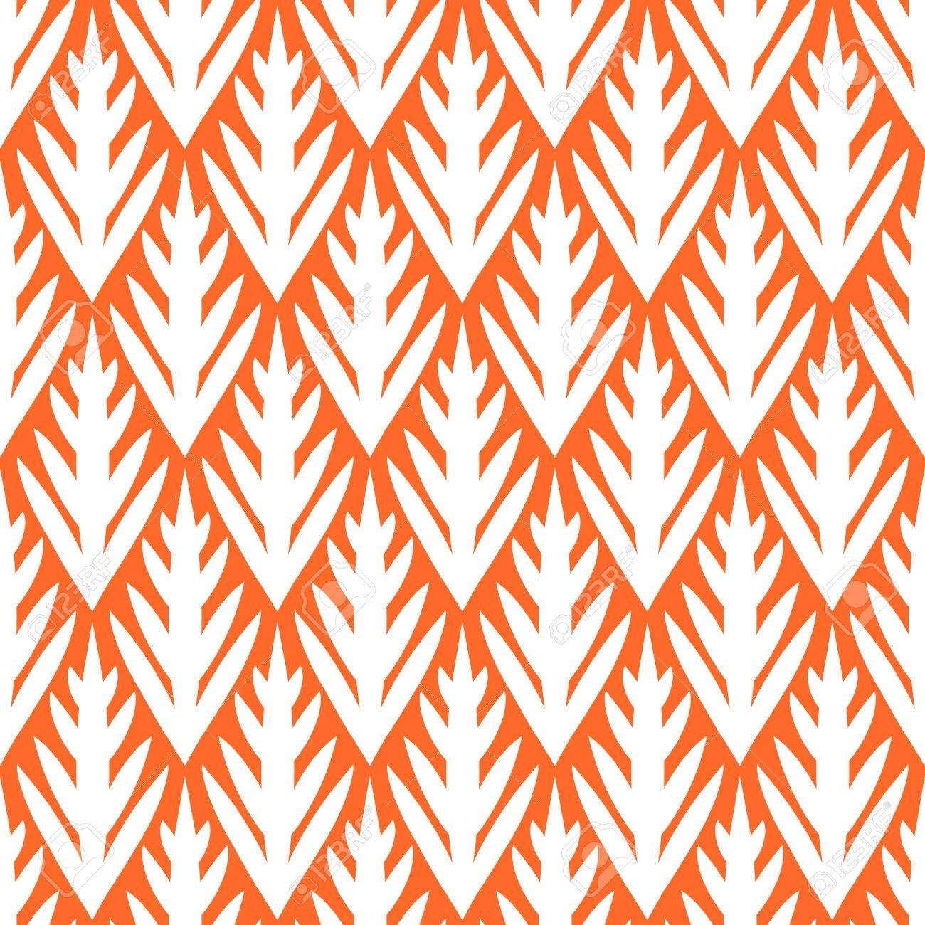 Simple trees geometric ikat seamless pattern in orange, vector - 25435438