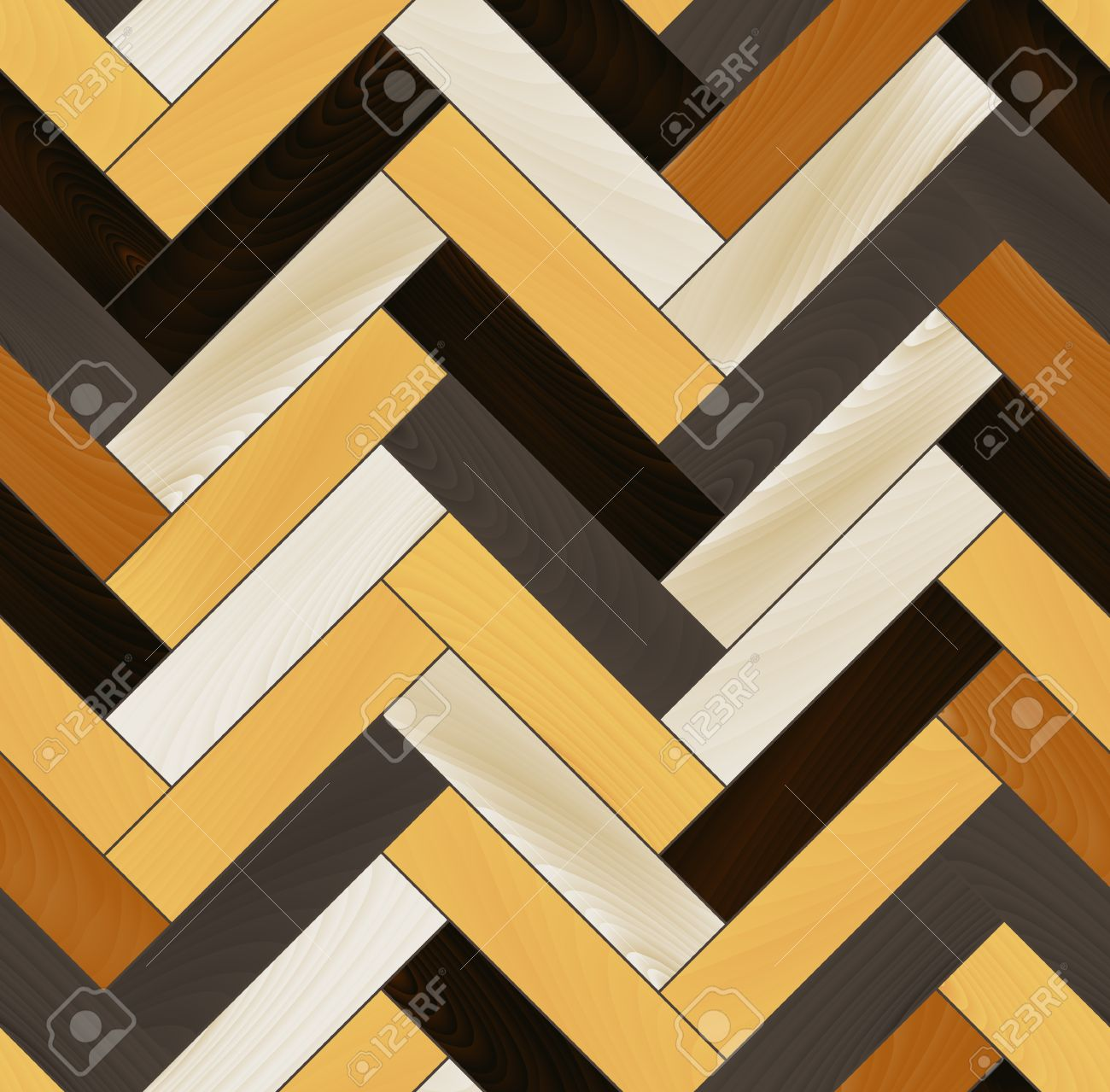 Colorful realistic wooden floor herringbone parquet seamless pattern - 26043562