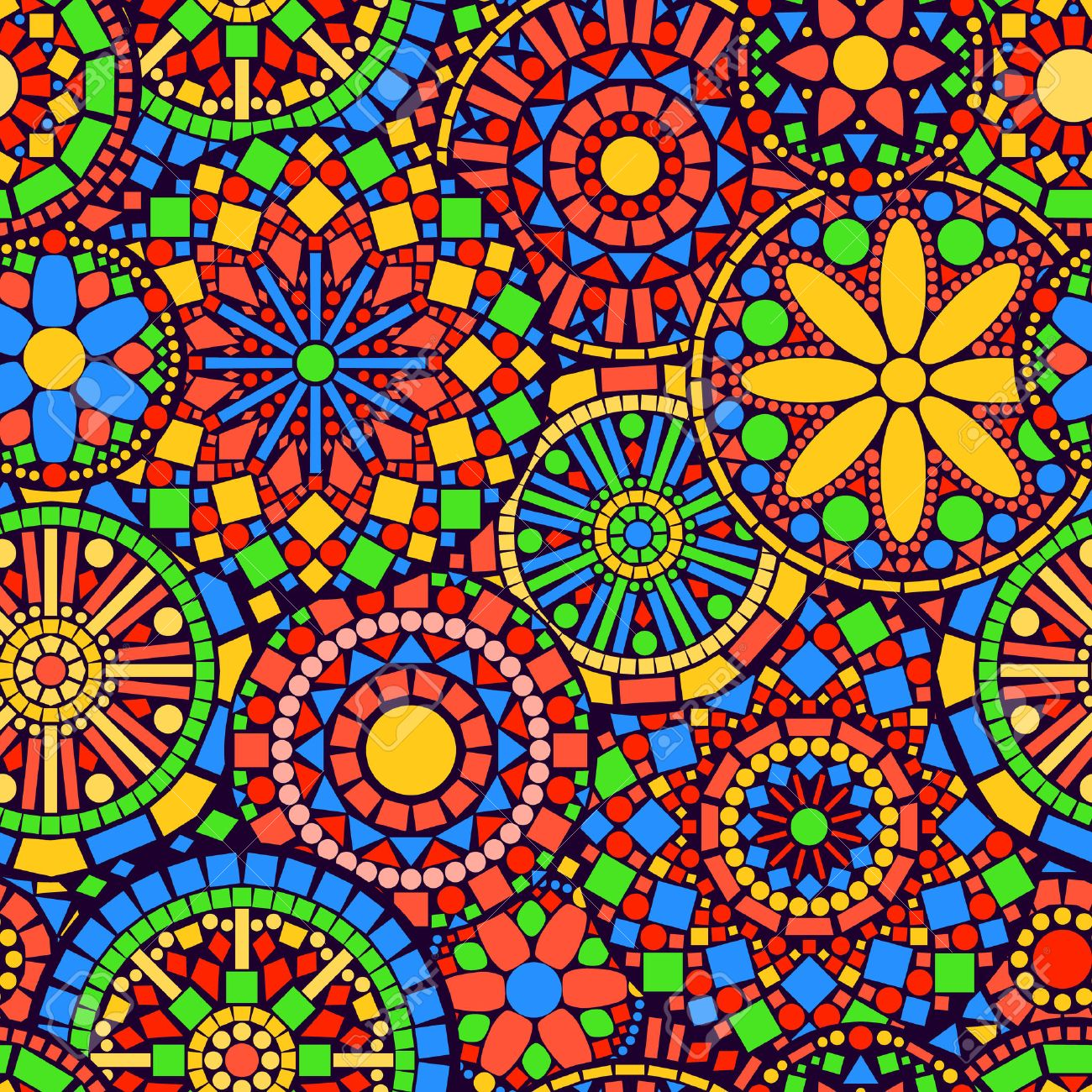 Colorful circle flower mandalas seamless pattern, vector - 26078327