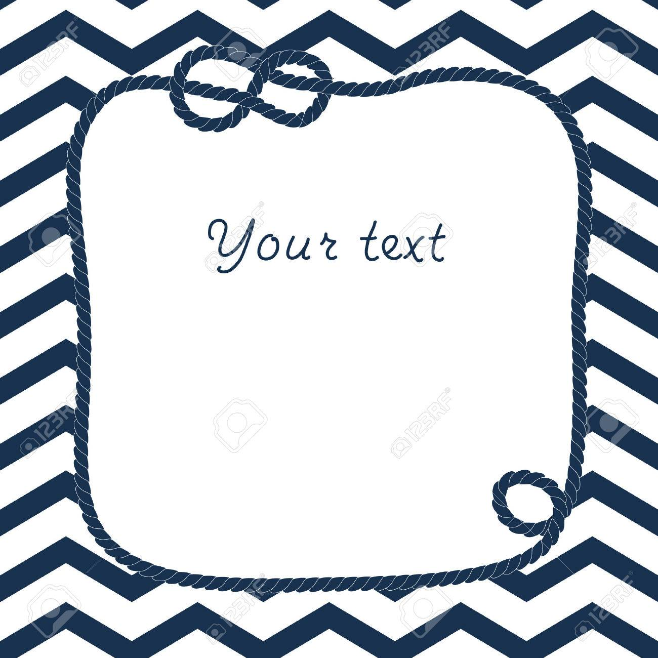 navy blue and white rope with marine knot frame for your text on chevron background