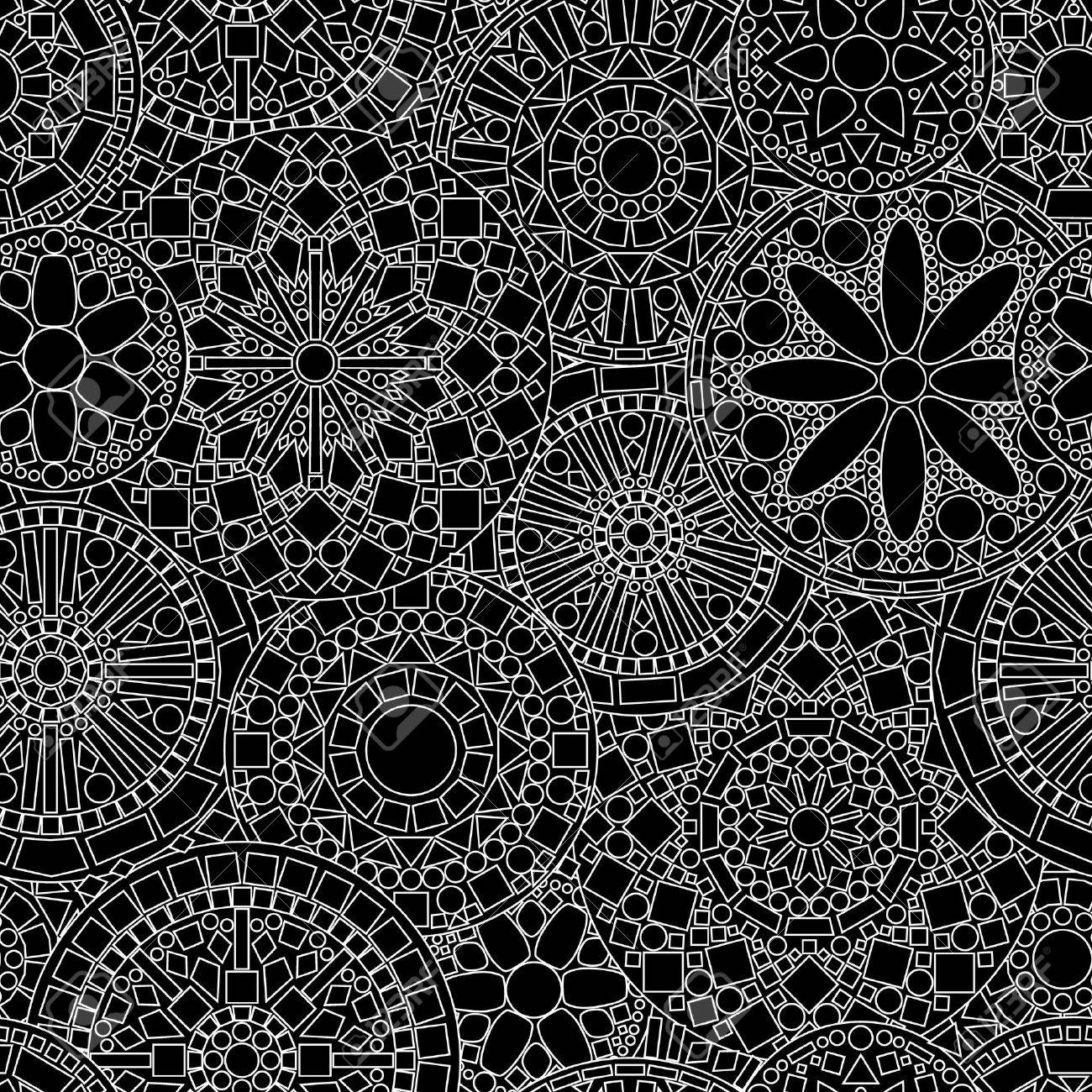 Lacy circle flower mandalas seamless pattern in black and white - 27458715