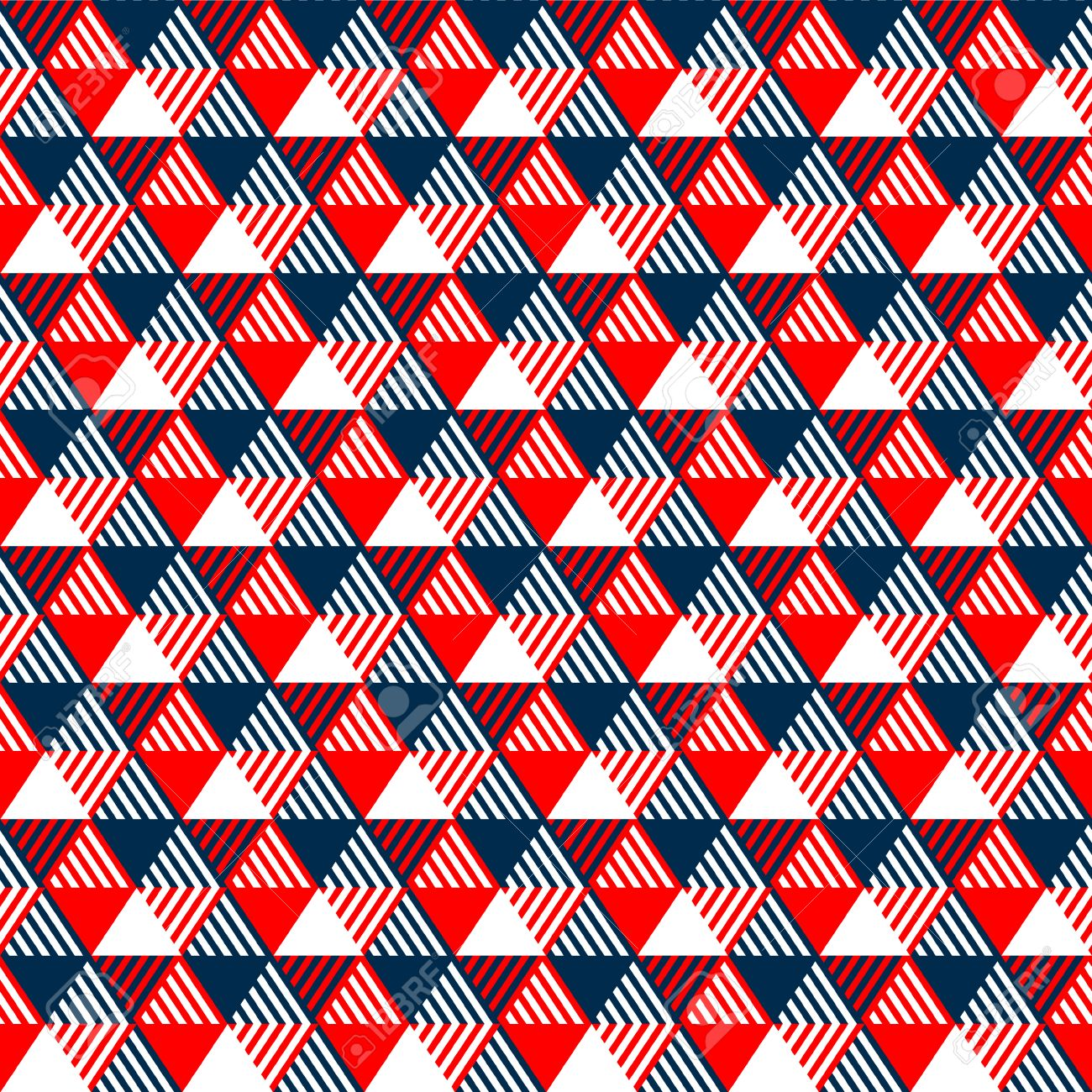 Triangles geometric seamless pattern in navy blue red and white, vector - 30674630