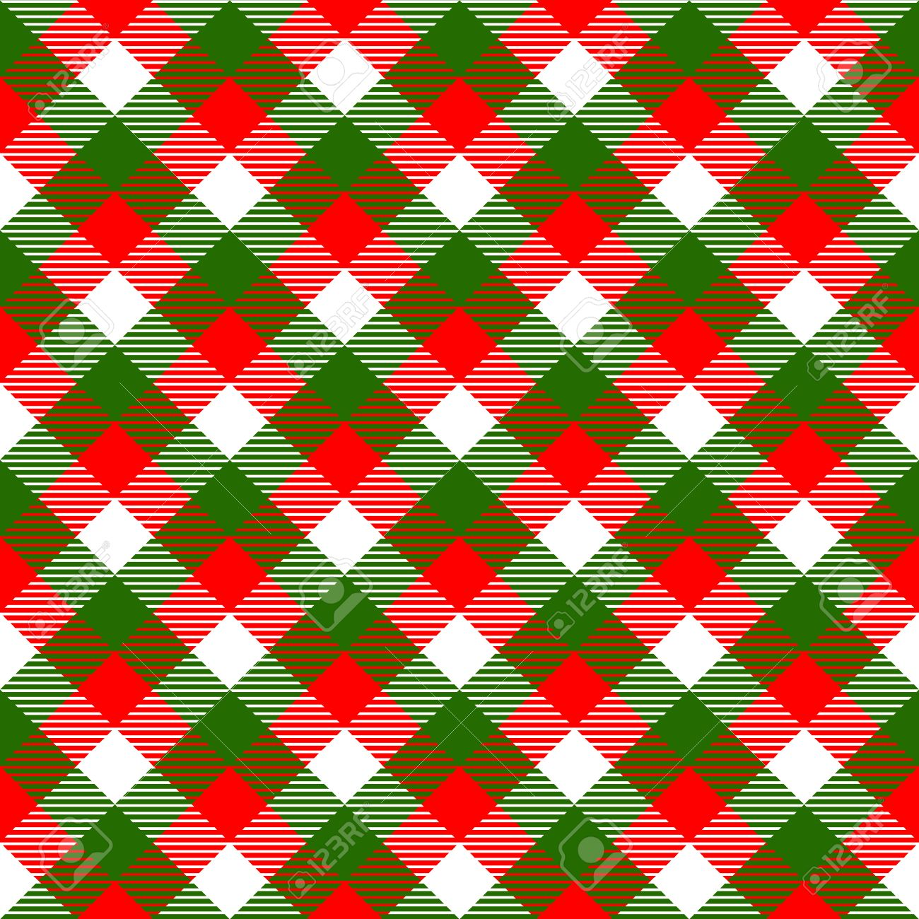 Christmas Colors.Checkered Gingham Fabric Seamless Pattern In Christmas Colors