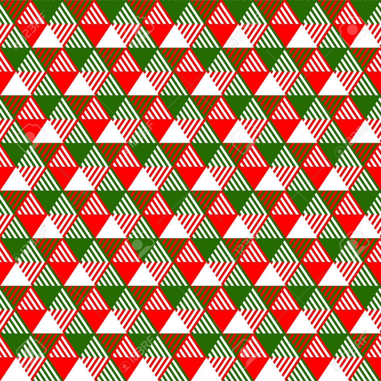 Christmas Colors.Triangles Geometric Seamless Pattern In Christmas Colors Green