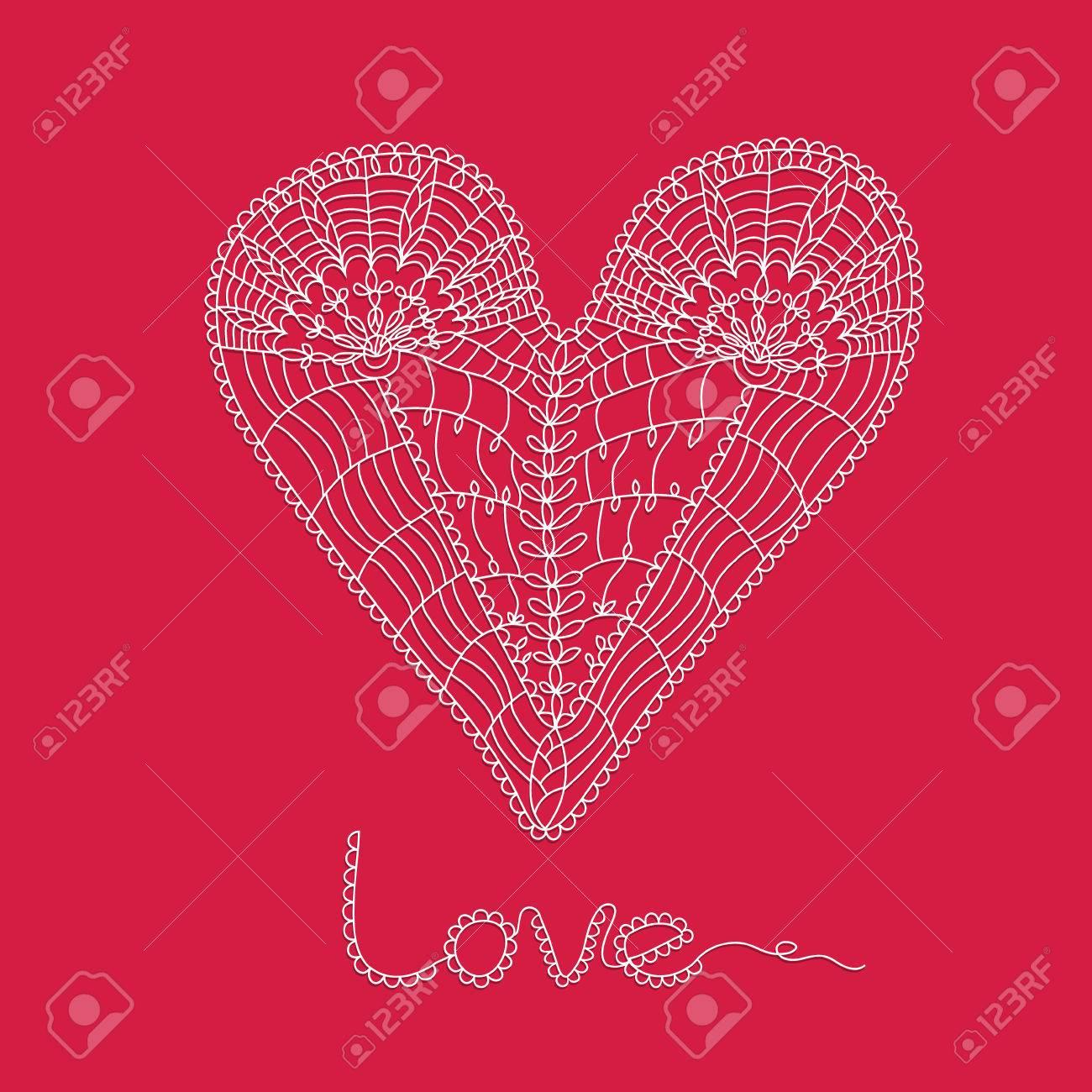 Asombroso Los Patrones De Corazón Rojo Para El Ganchillo Ornamento ...