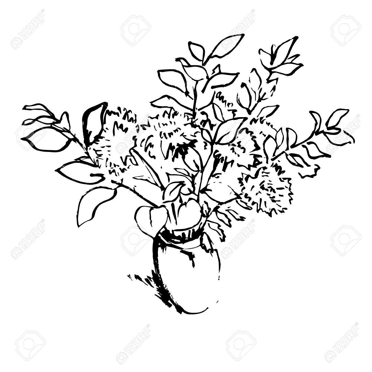 Black And White Aster Flowers Bouquet In A Vase Hand Drawn Pen ...