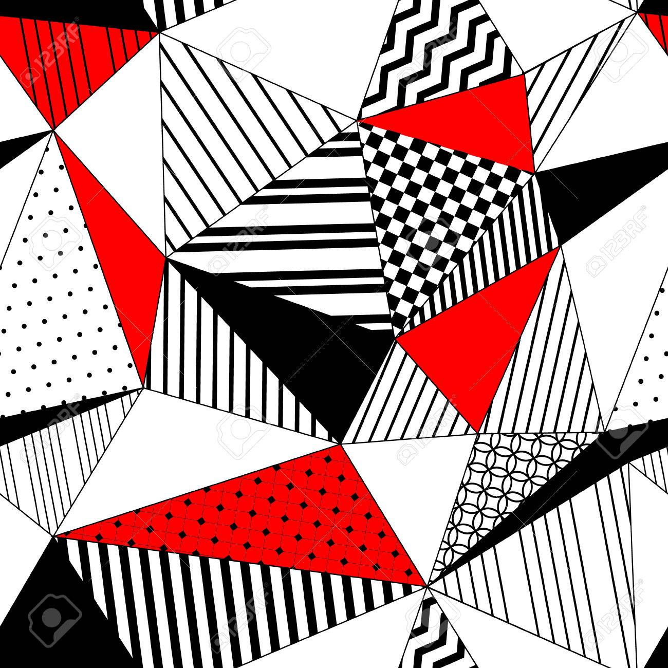 Abstract geometric striped triangles seamless pattern in black white and red, vector - 42210345