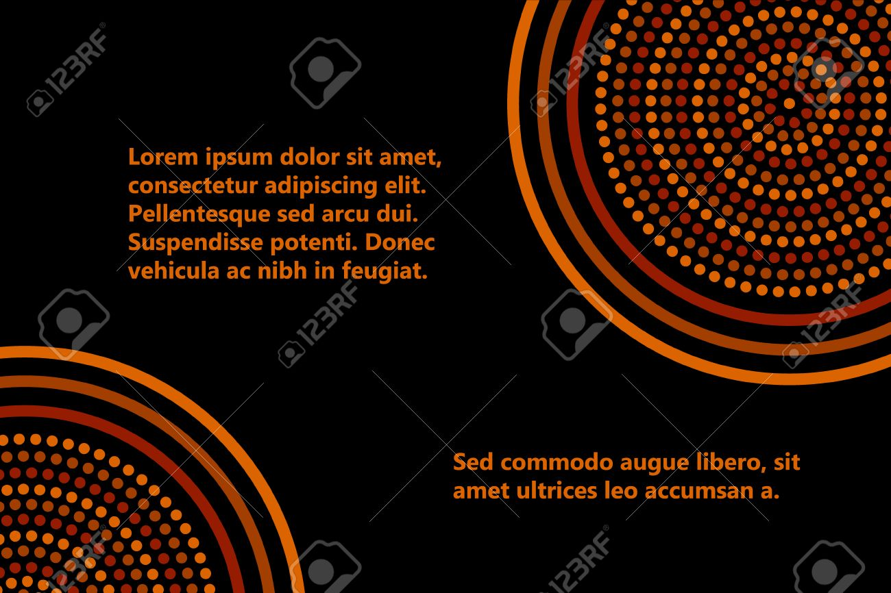 Australian aboriginal geometric art concentric circles banner template in orange brown and black, vector - 44988160