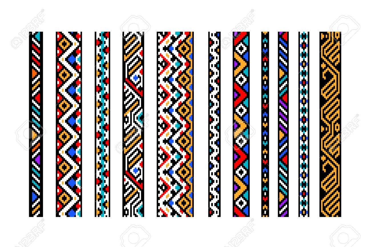 Colorful ethnic geometric aztec seamless borders set, vector - 45841052