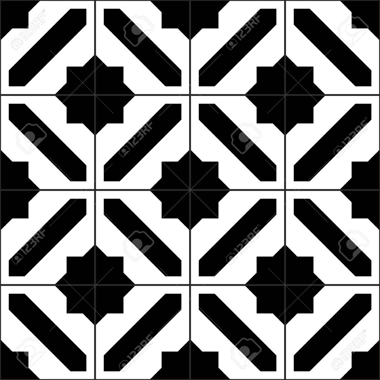 Vector of moroccan tile seamless pattern tile for design tile - Black And White Moroccan Tiles Seamless Pattern Vector Background Stock Vector 46077112