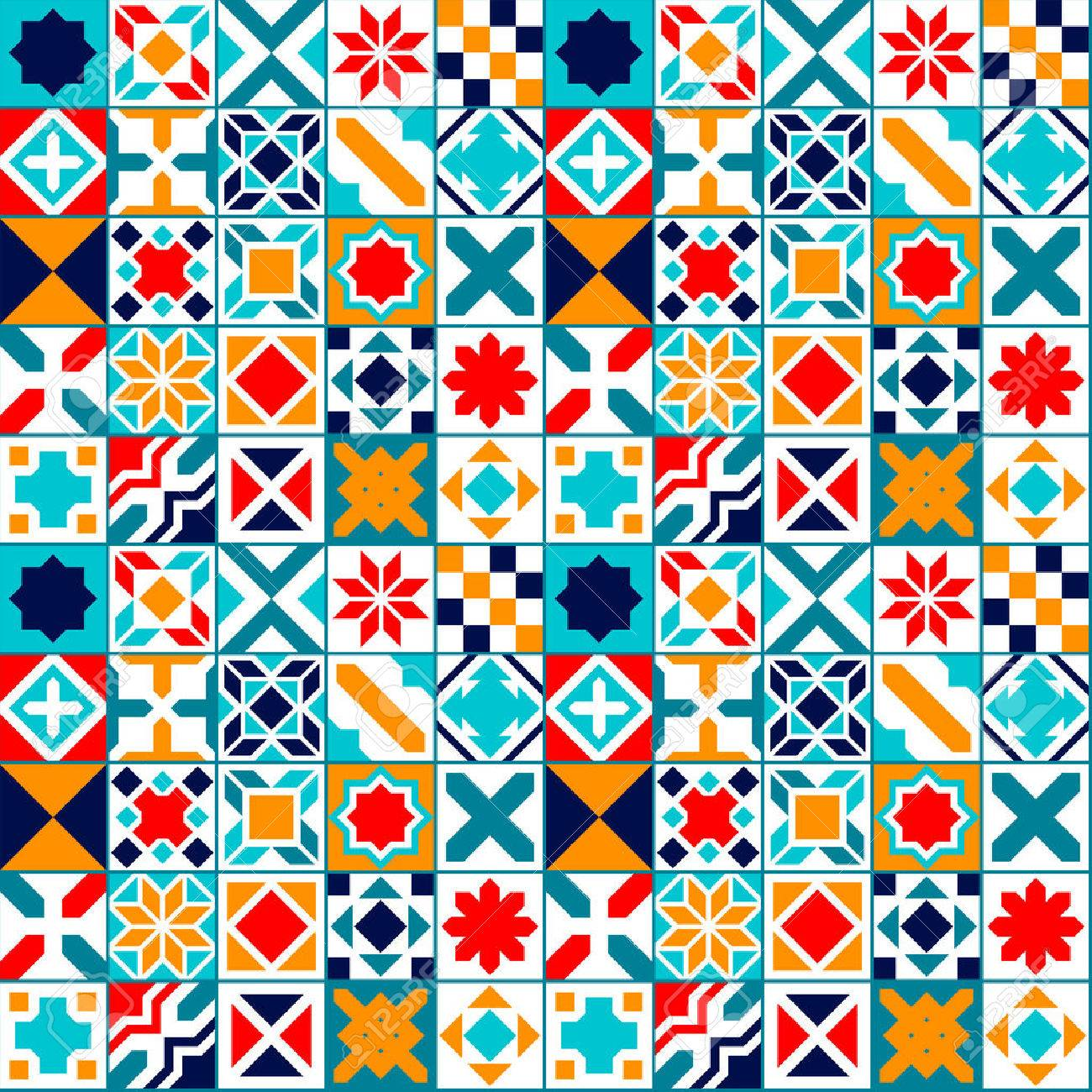 Colorful geometric tiles seamless pattern, vector background - 46777806
