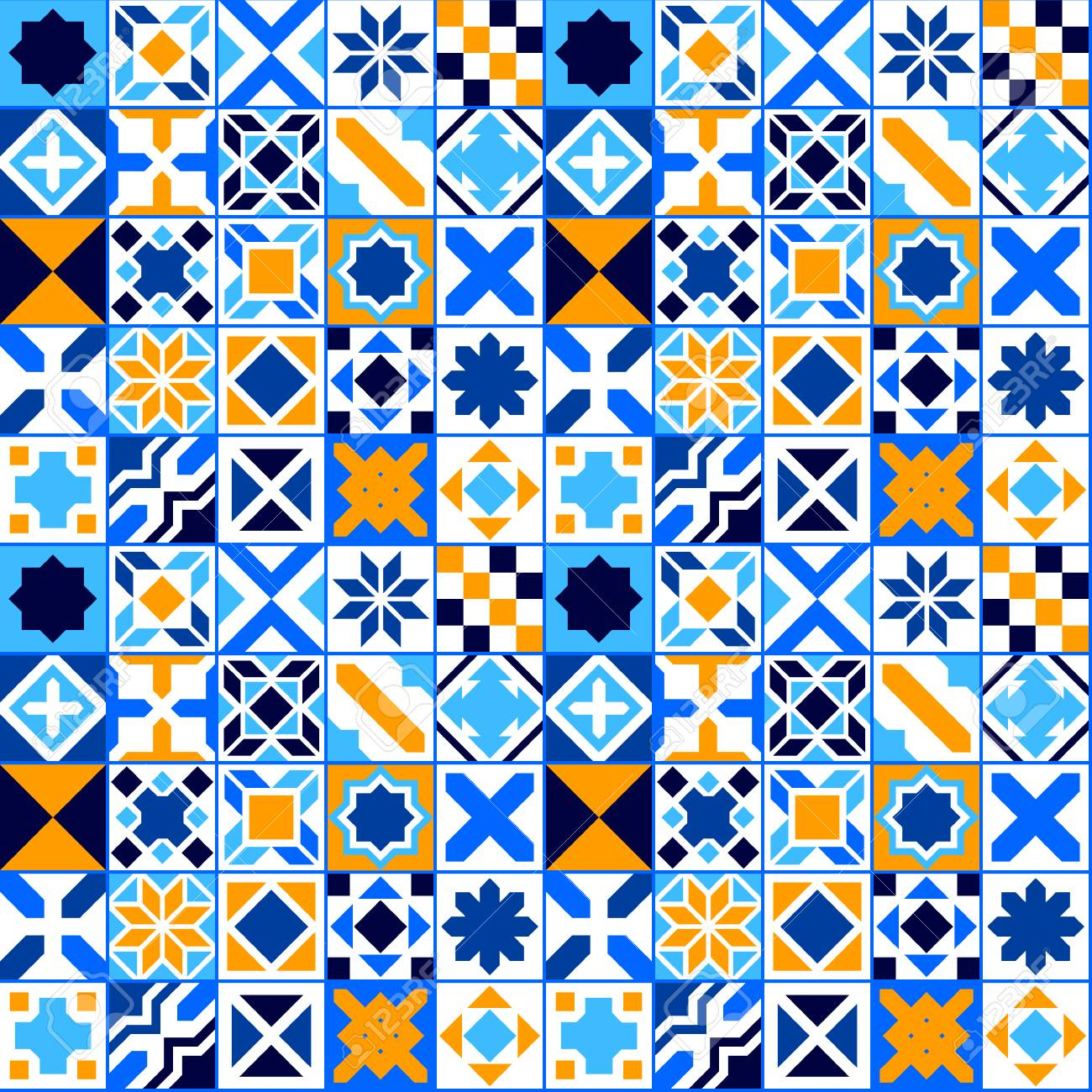 Colorful geometric tiles seamless pattern, vector background - 47596175