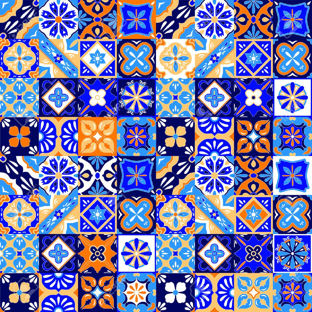 Mexican Stylized Talavera Tiles Seamless Pattern In Blue Orange - Black and white talavera tile