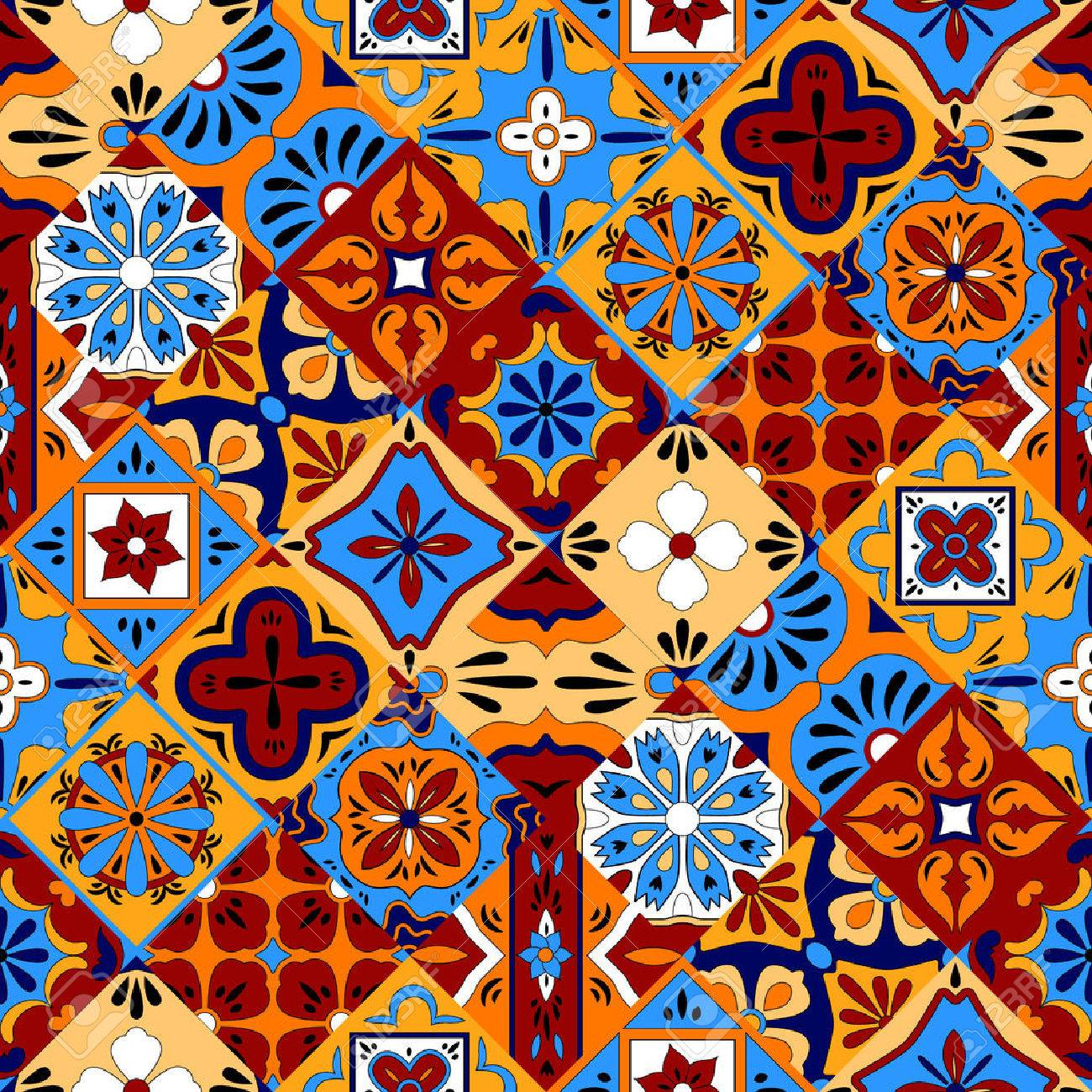 Mexican stylized talavera tiles seamless pattern in blue red and yellow, vector background - 47943773