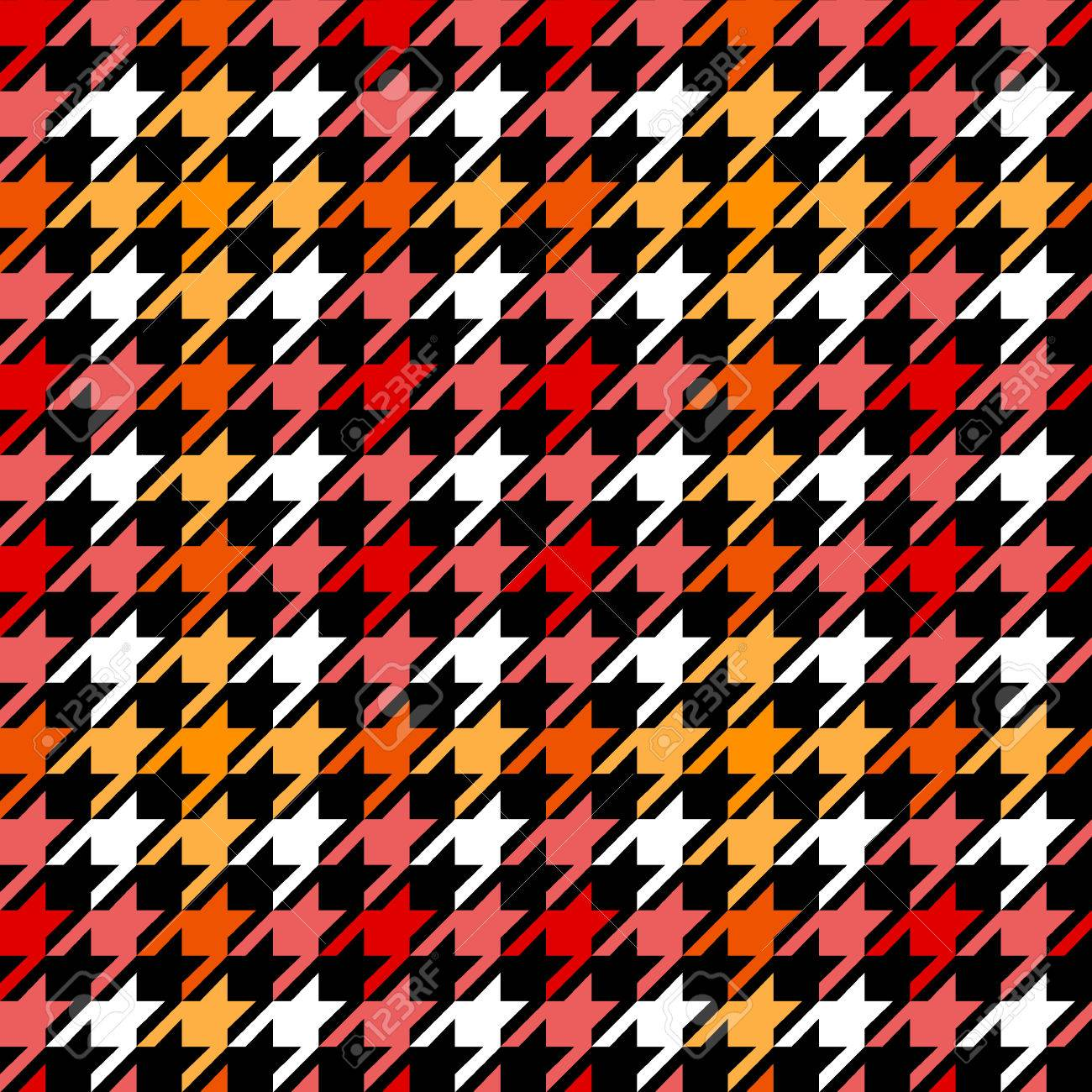 Seamless black and white checkered texture stock images image - Houndstooth Checkered Seamless Pattern In Red Yellow Black And White Vector Background Stock Vector