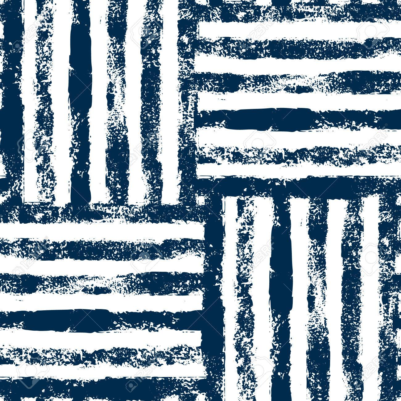 Blue and white striped woven grunge seamless pattern, background - 54496841