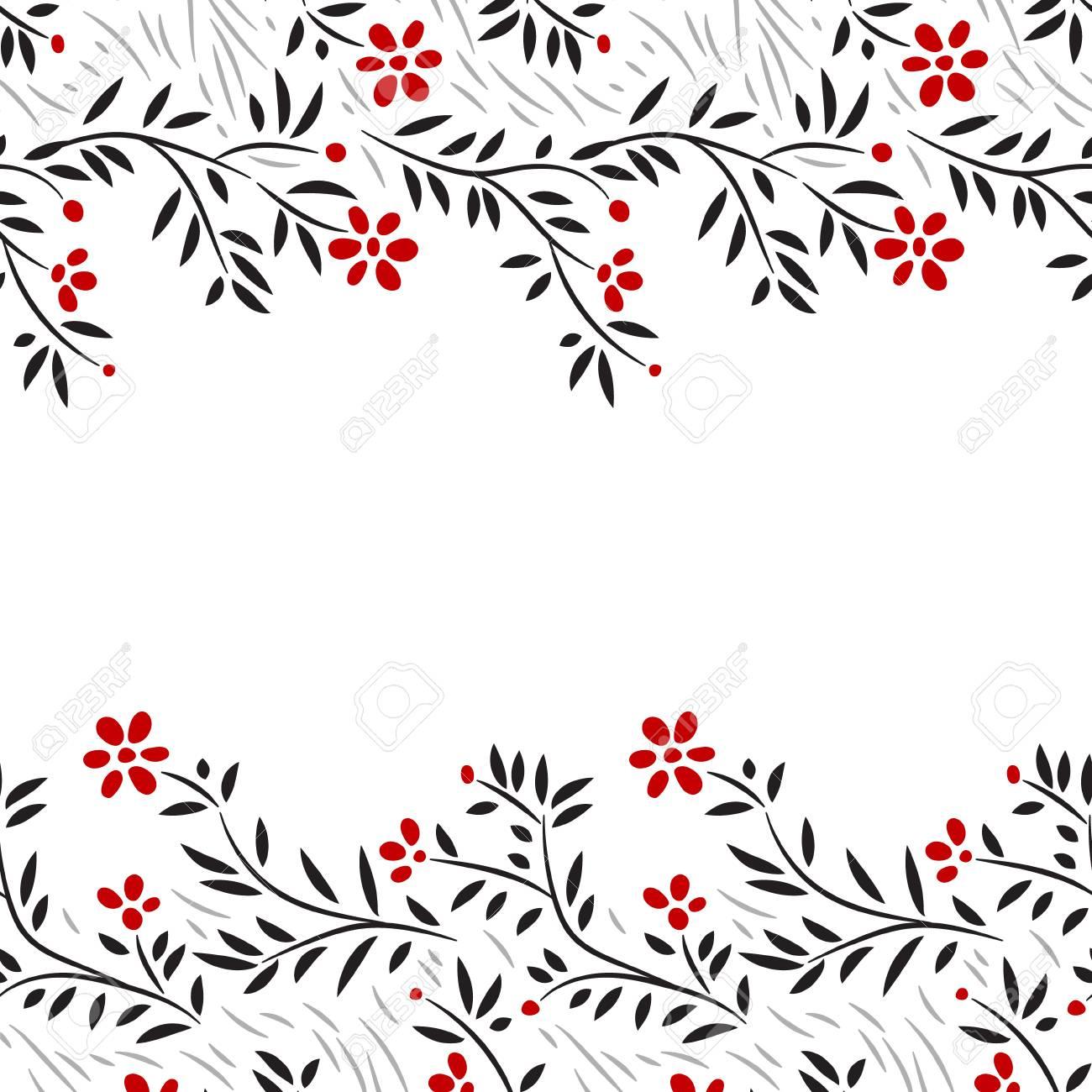 Black White And Red Flowers Horizontal Seamless Border On White